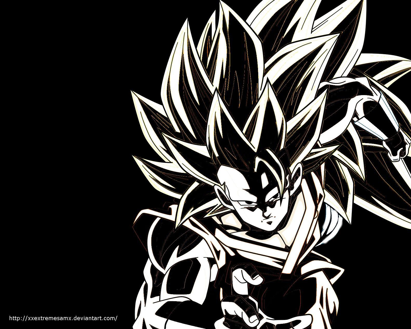 Ssj3 goku wallpaper black and white by xxextremesamx on deviantart