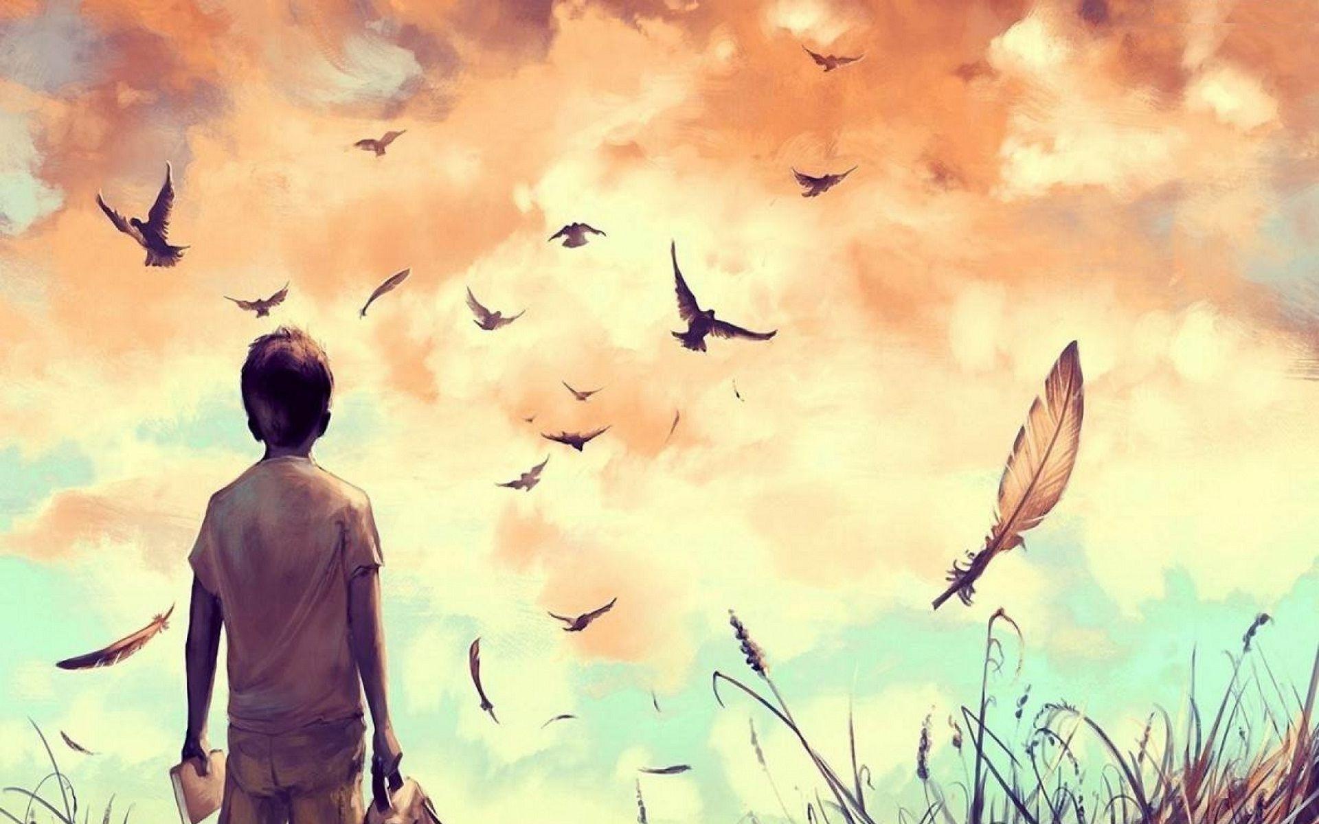 Alone cartoon boy drawing full hd alone boy and birds flying