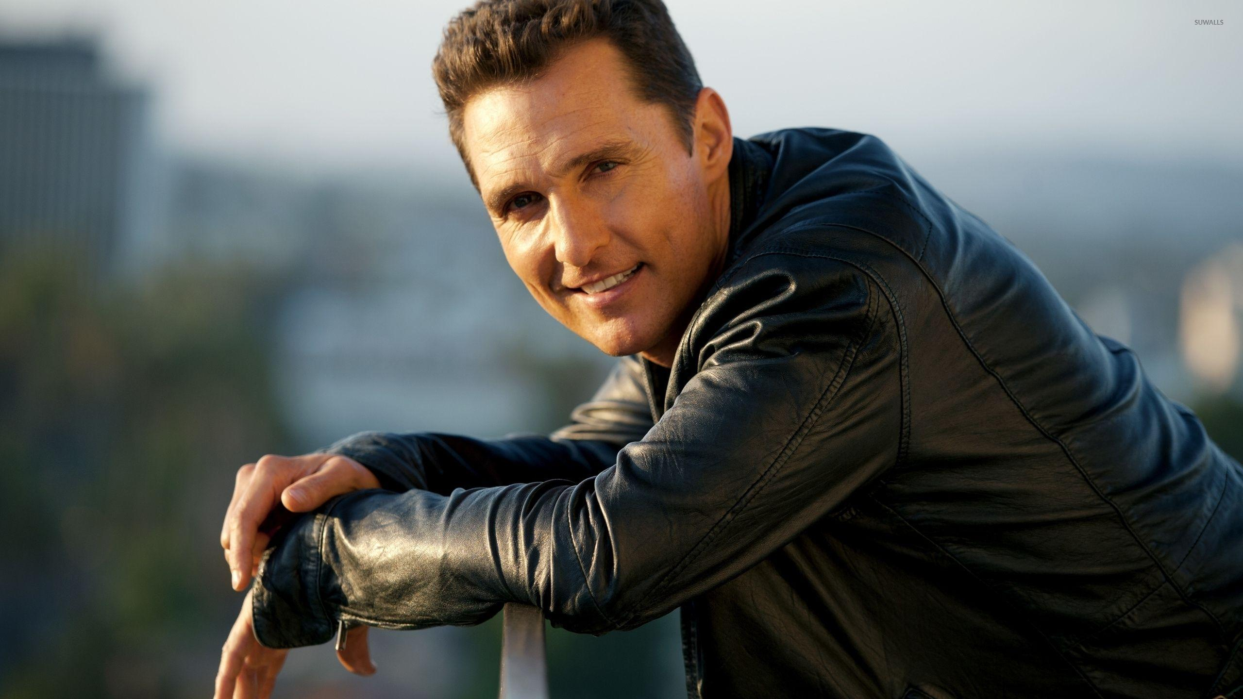 Matthew McConaughey in a black leather jacket wallpapers