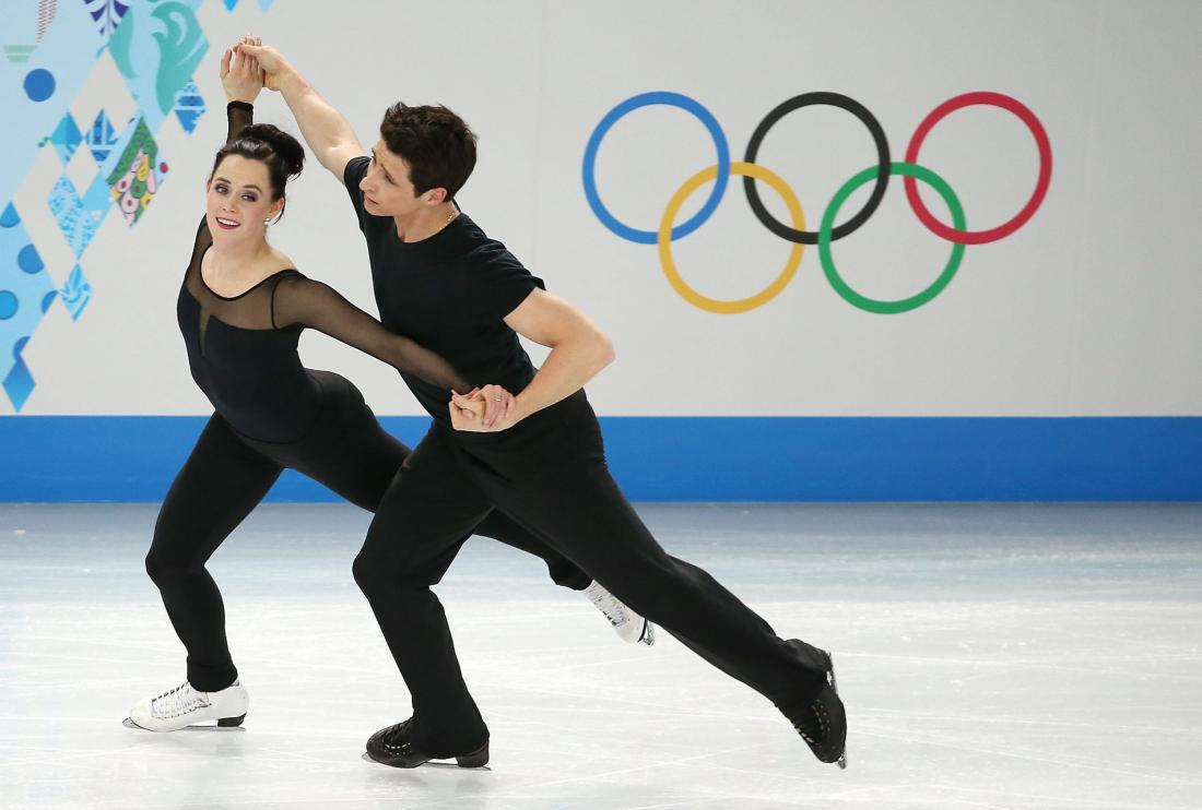Tessa Virtue and Scott Moir of Canada perform during an ice dance ...