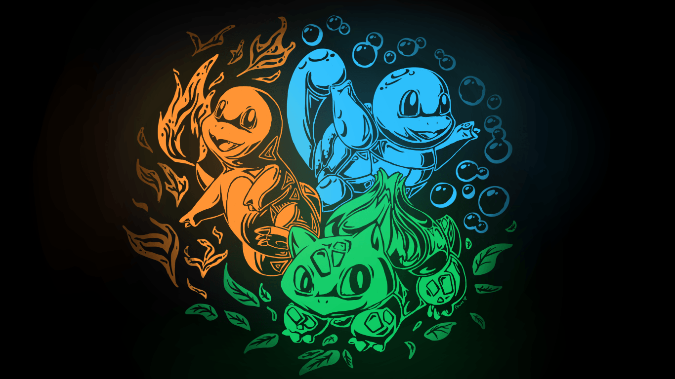 Bulbasaur Charmander Kanto Pkemon Squirtle Video Games - WallDevil