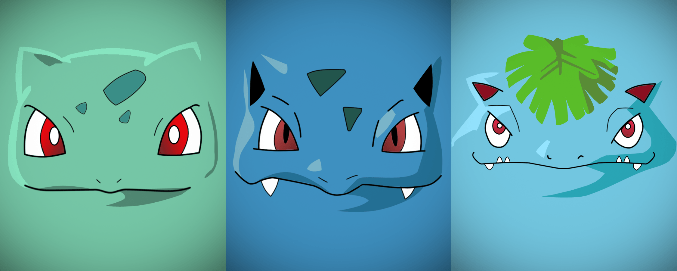 Minimalist Bulbasaur, Ivysaur and Venusaur by Vault