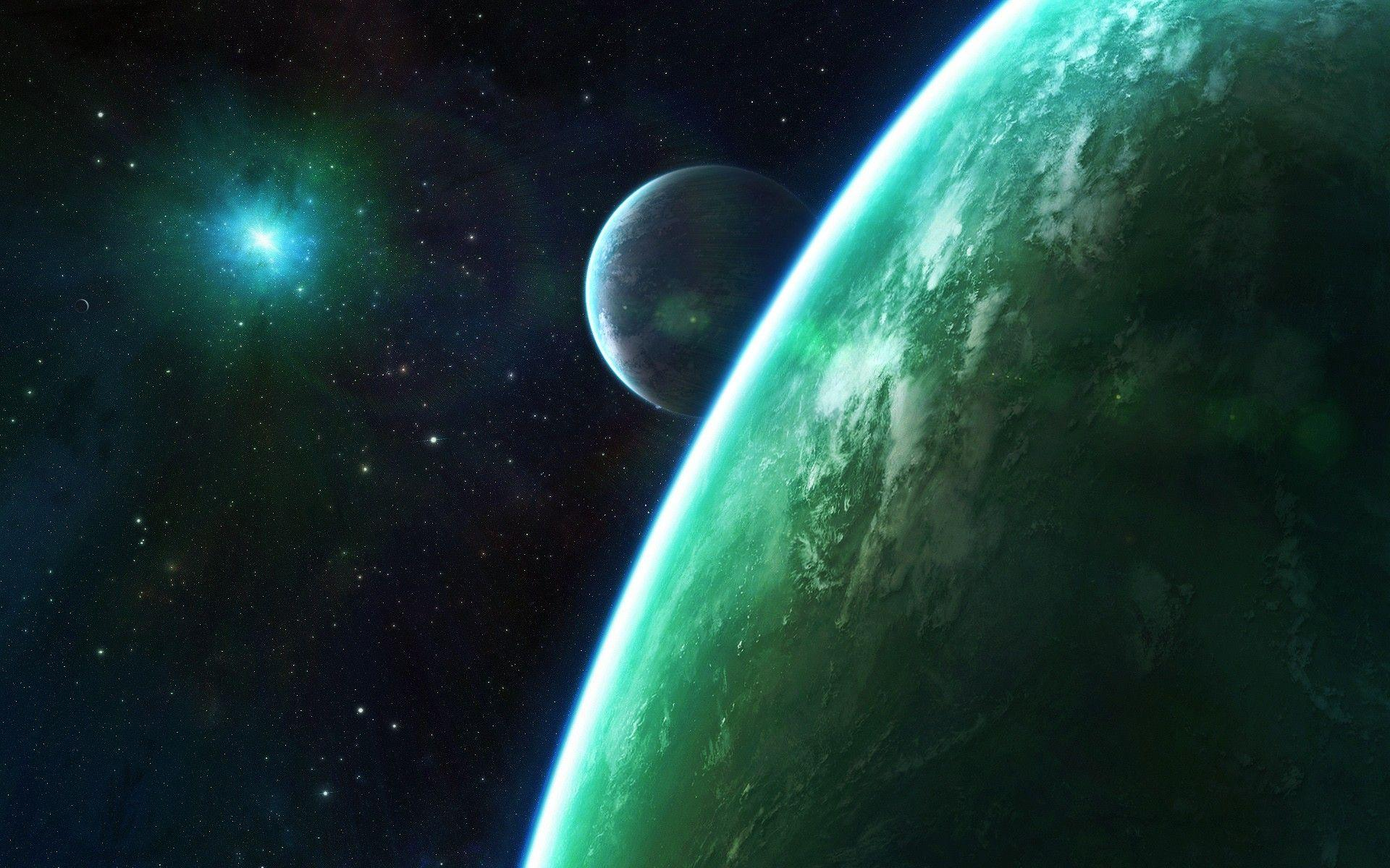 Space: Starlight Green Planets Stars Download Nature Pictures