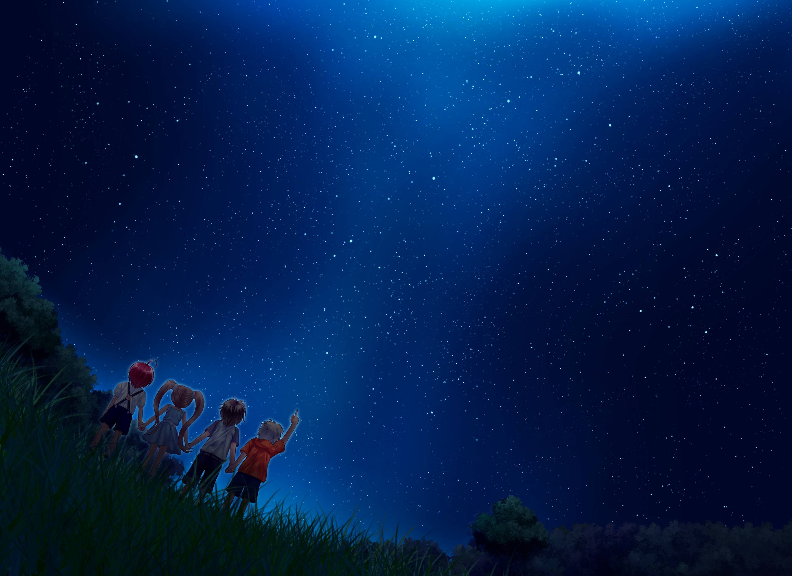 Anime sky wallpapers wallpaper cave - Star night wallpaper ...