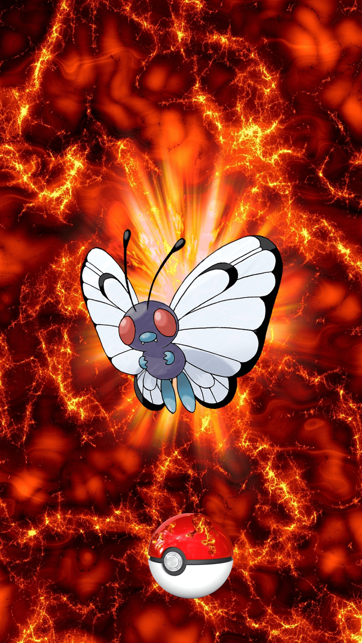 012 Fire Pokeball Butterfree Butterfree Metapod | Wallpaper