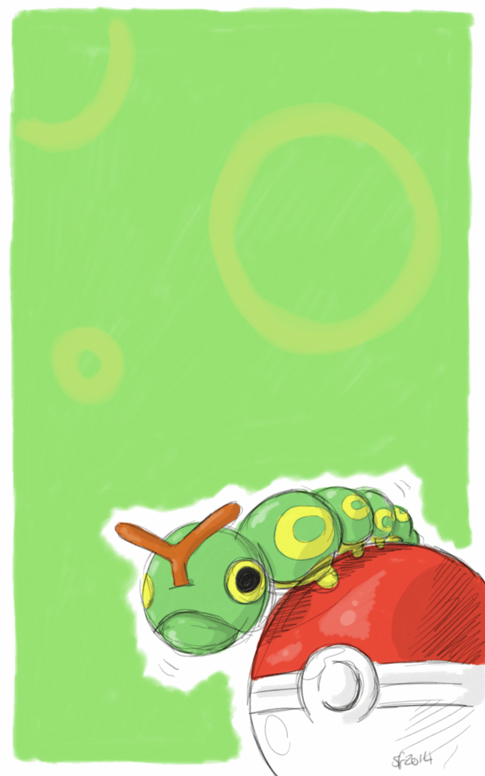 Caterpie phone wallpaper by SatsyDoodles on DeviantArt