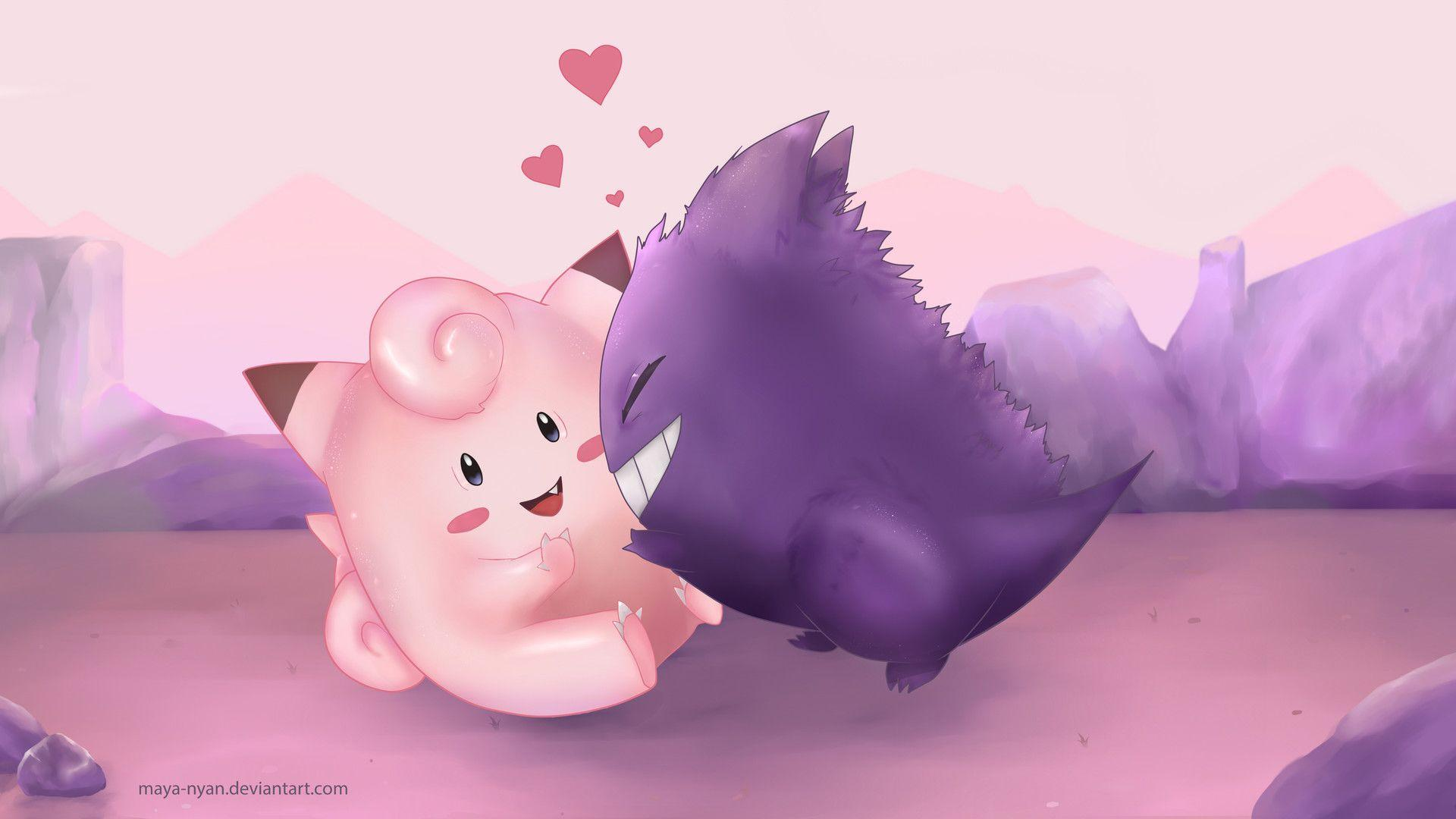 ArtStation - Gengar and Clefairy Wallpaper, Mirela Scheul