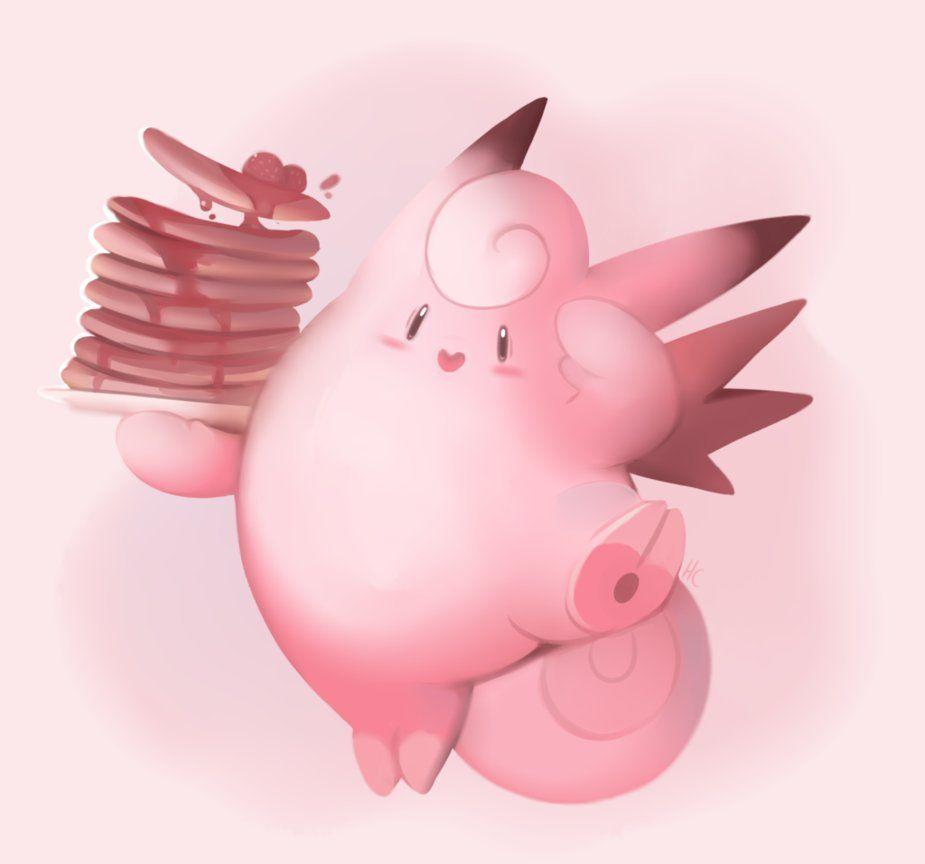 Clefable With Pancakes by HappyCrumble on DeviantArt