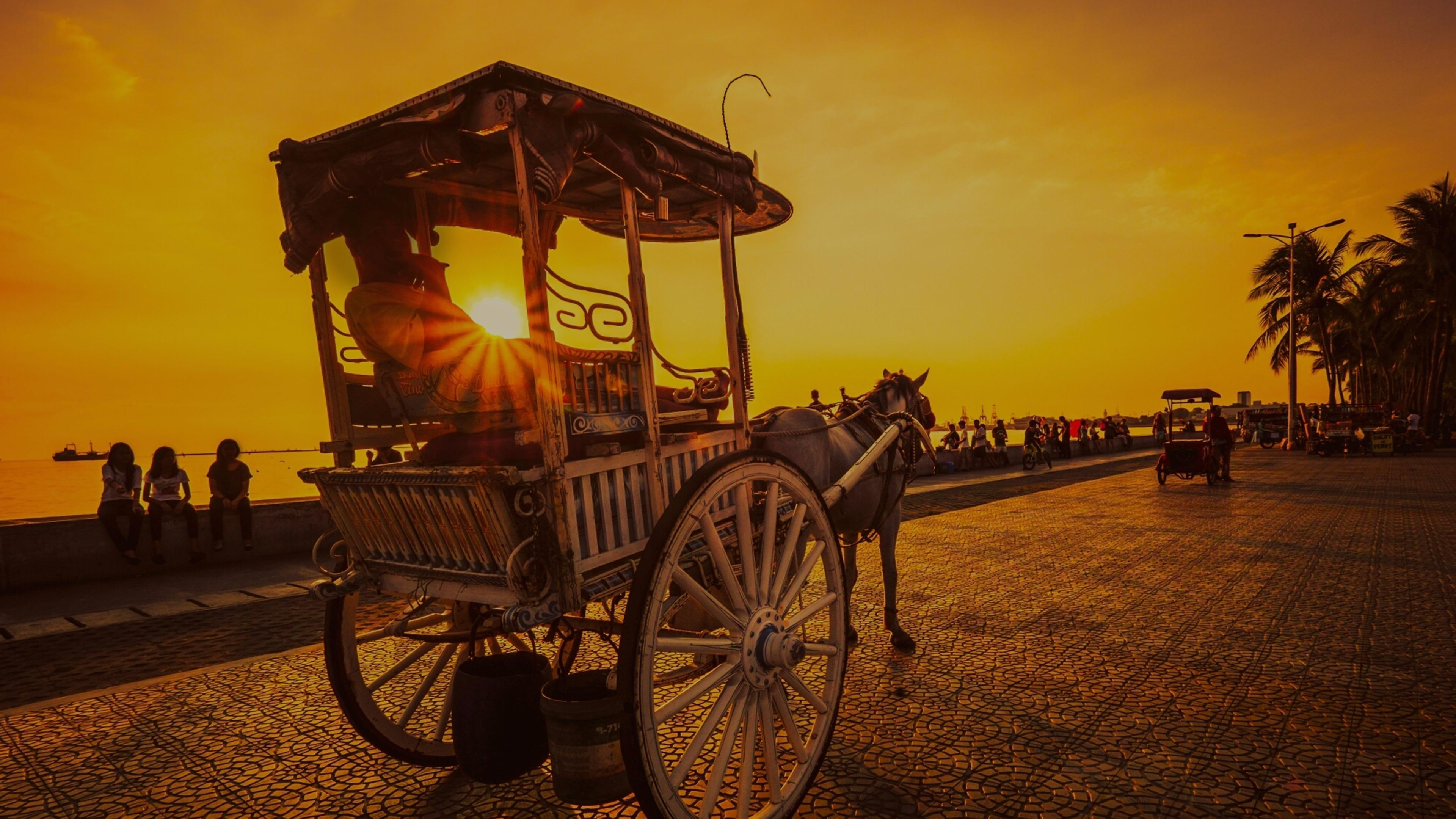 Horse Cart In The Sunset - Manila Wallpaper | Wallpaper Studio 10 ...