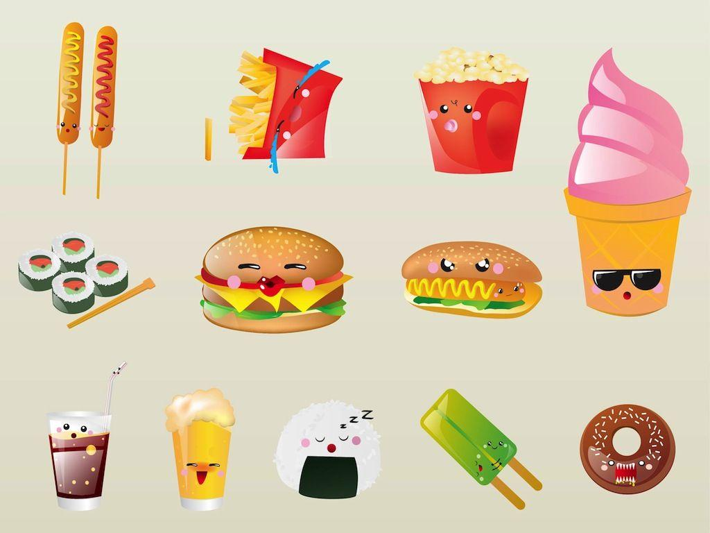 cartoon food cute faces characters drawings wallpapers cartoons dessert foods hd drawing vectorfree different cliparts wide 음식 kawaii easy 귀여운