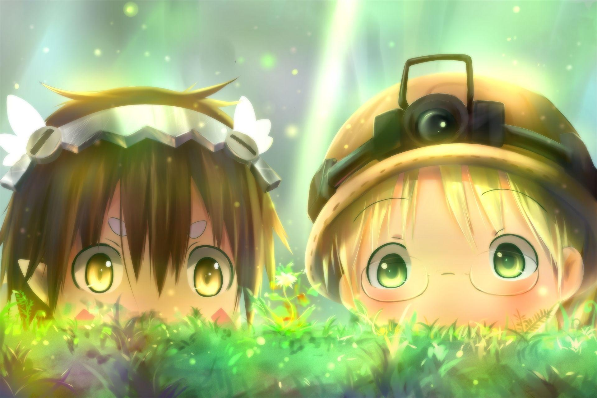 Wallpapers Made In Abyss, Rico, Regu, Cute, Chibi, Grass