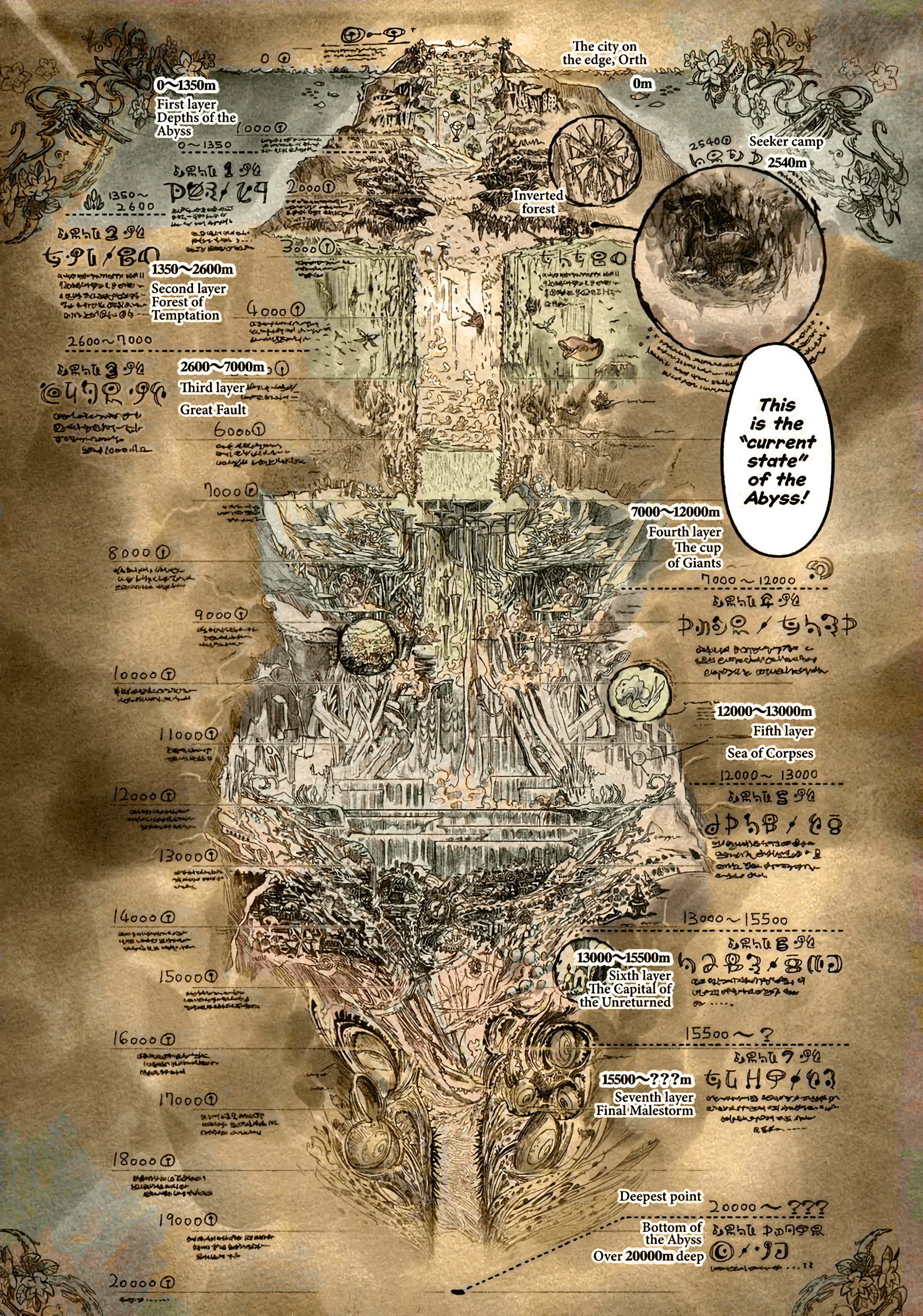 Made in Abyss map [2564x2780] : anime