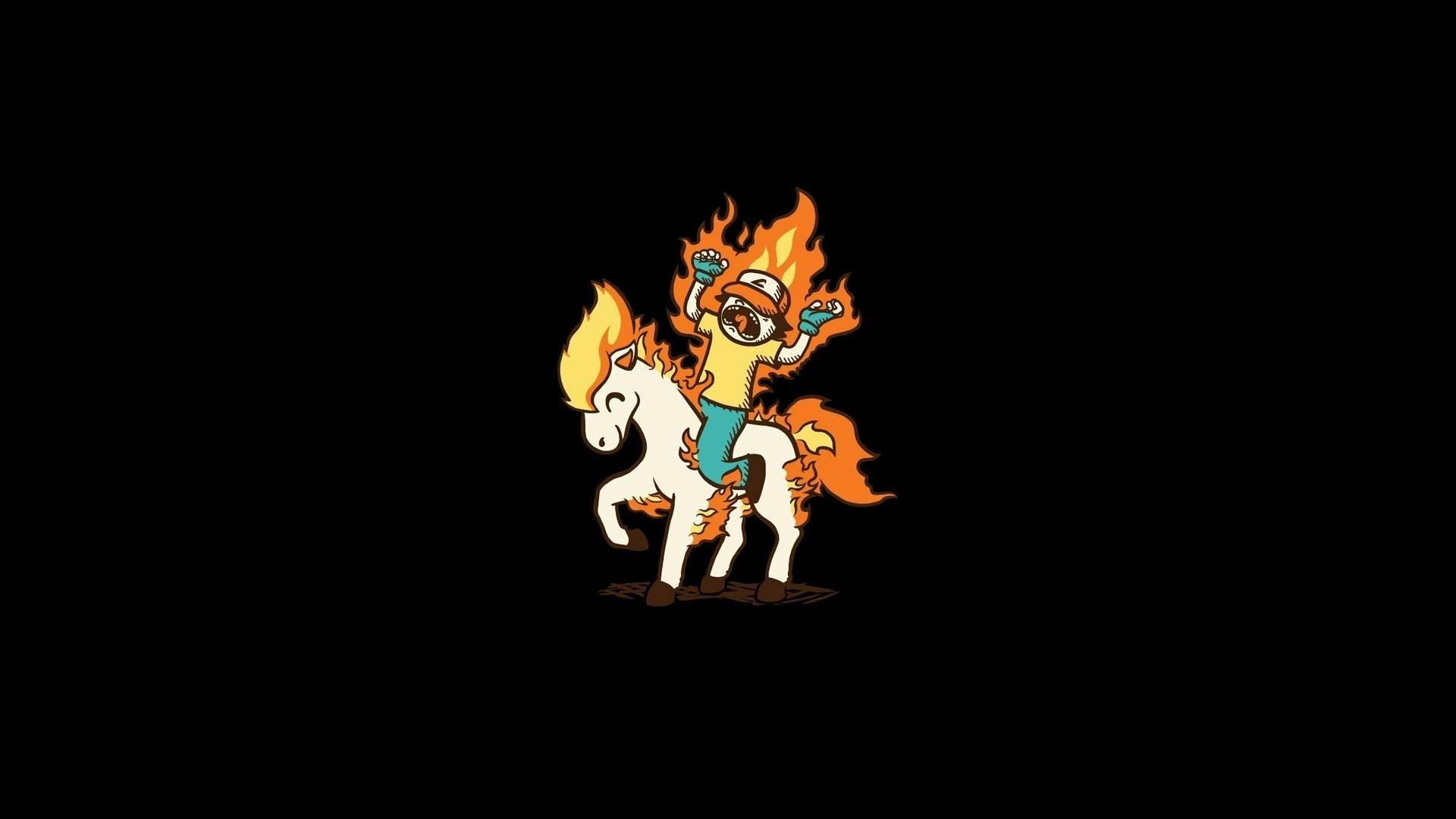 Pokemon ponyta black backgrounds minimalistic simple wallpapers