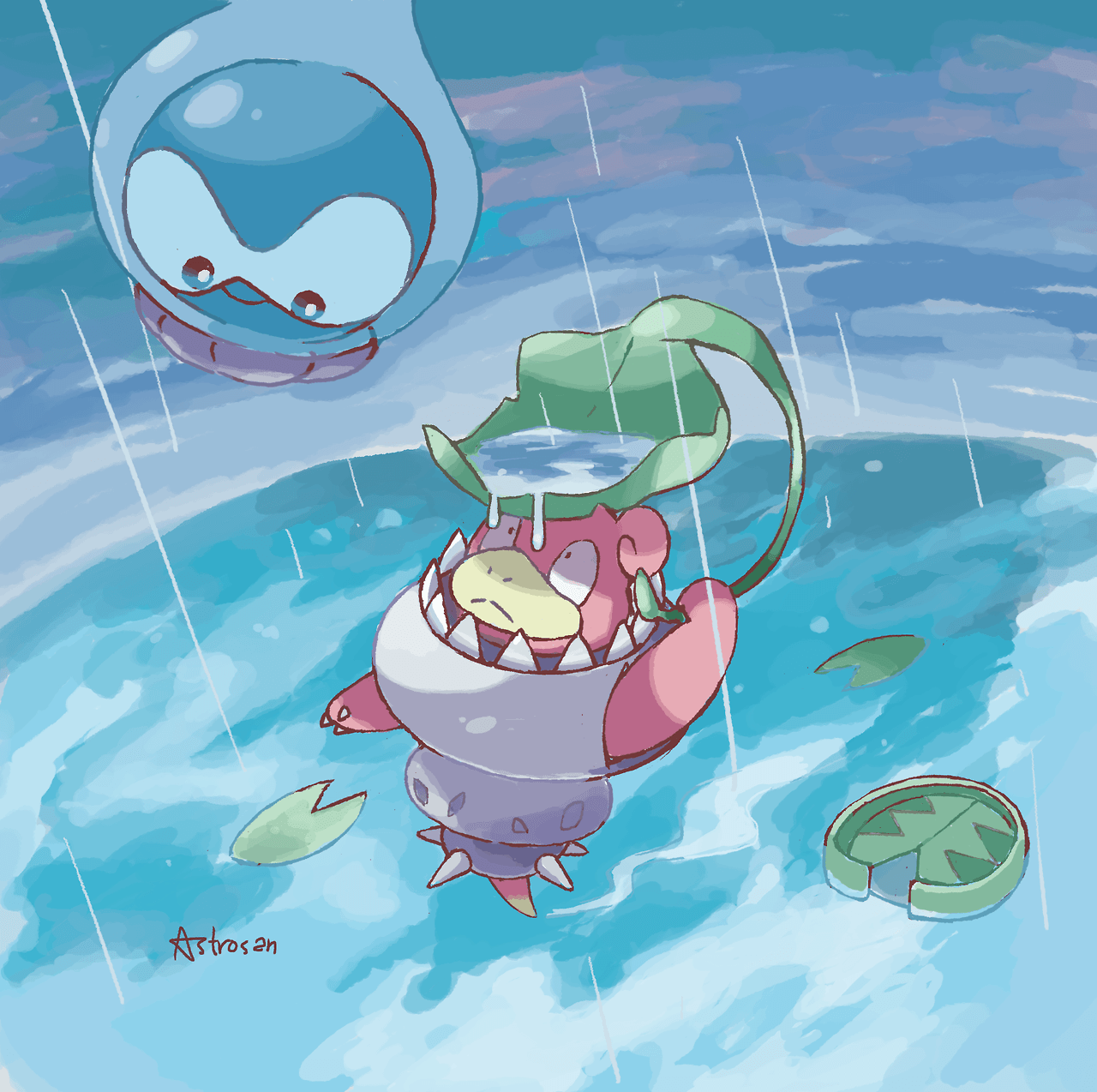 Mega Slowbro and Castform Fanart [Astrosan] : pokemon