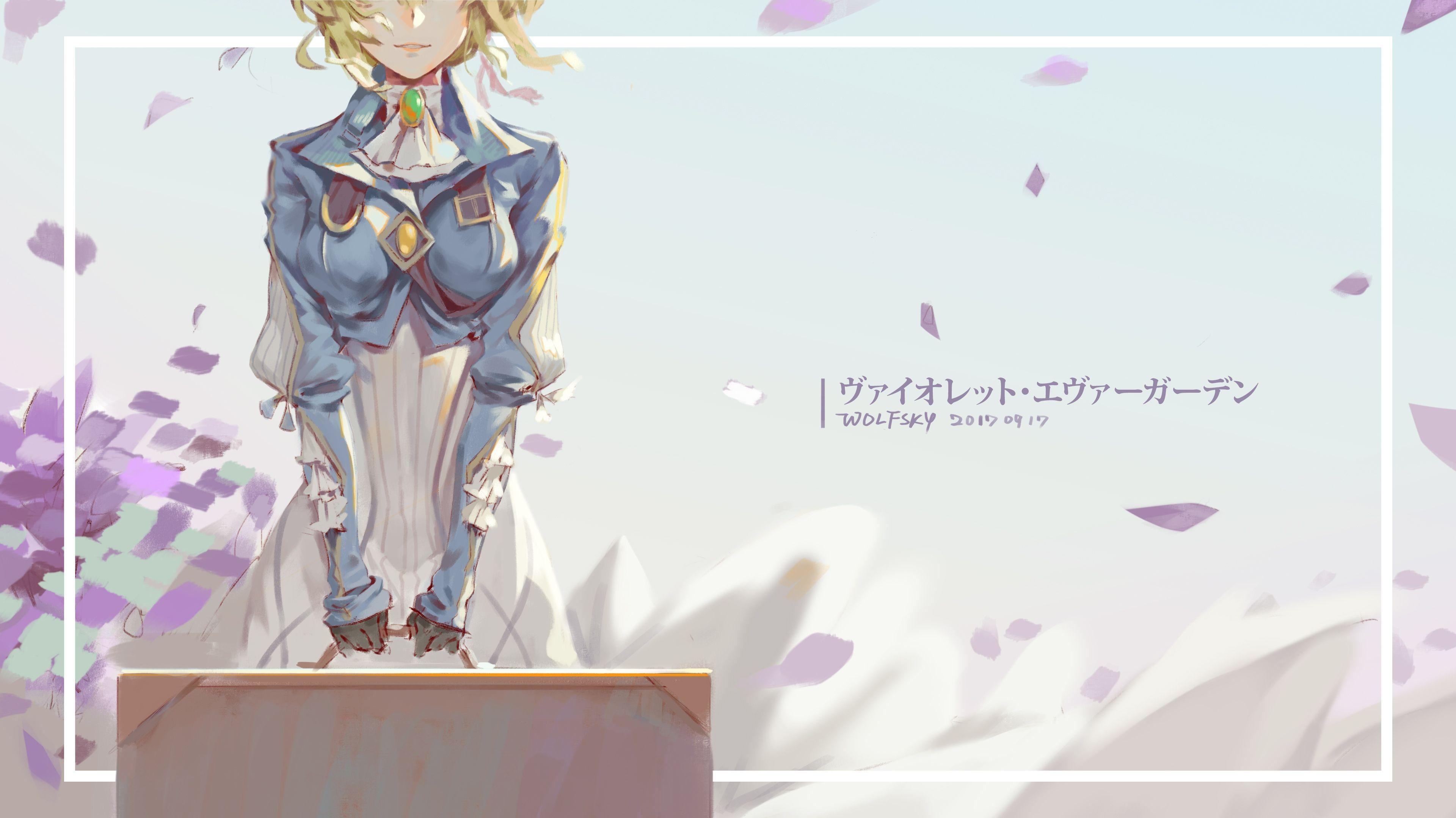 Wallpapers Violet Evergarden, Smiling, Half Face, Gloves, Dress