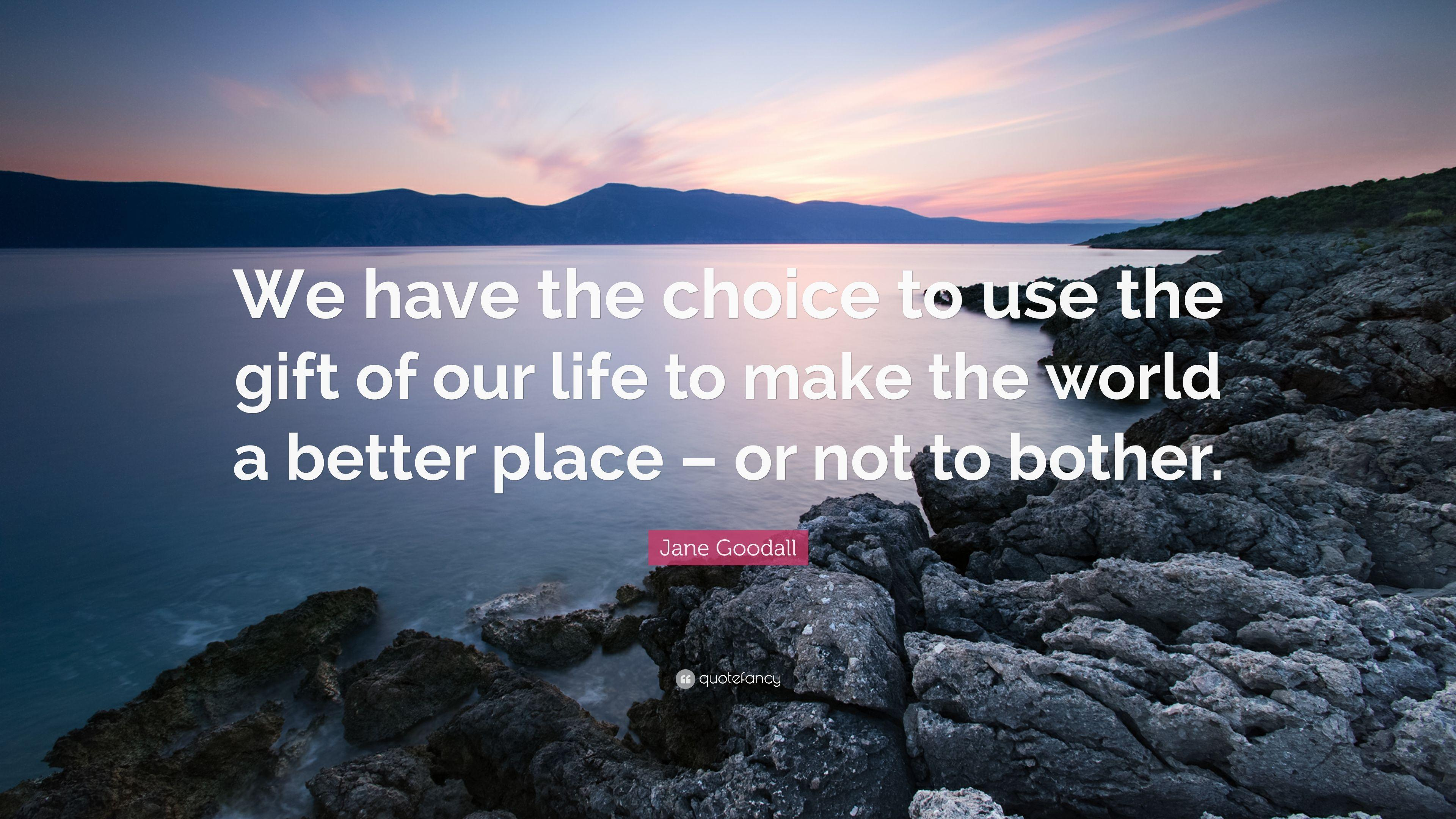 "Jane Goodall Quote: ""We have the choice to use the gift of our ..."