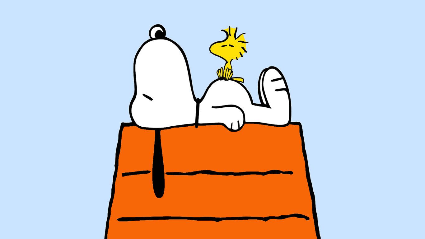 Snoopy and Woodstock Power Nap Wallpaper 1366x768 PNG | Snoopy And ...