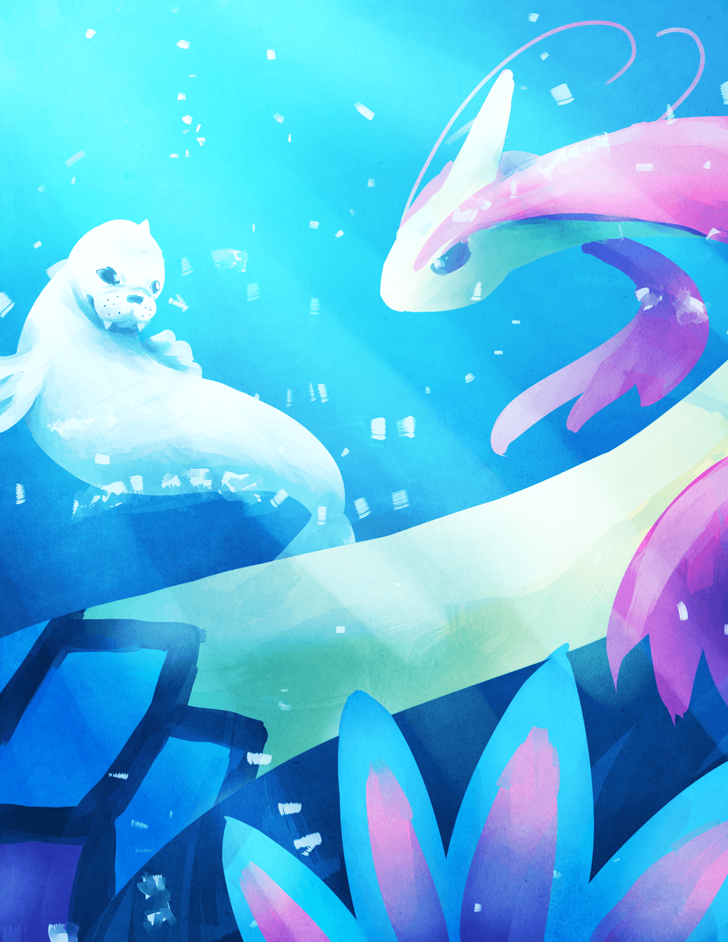 Milotic and Dewgong by laclefaverite on DeviantArt