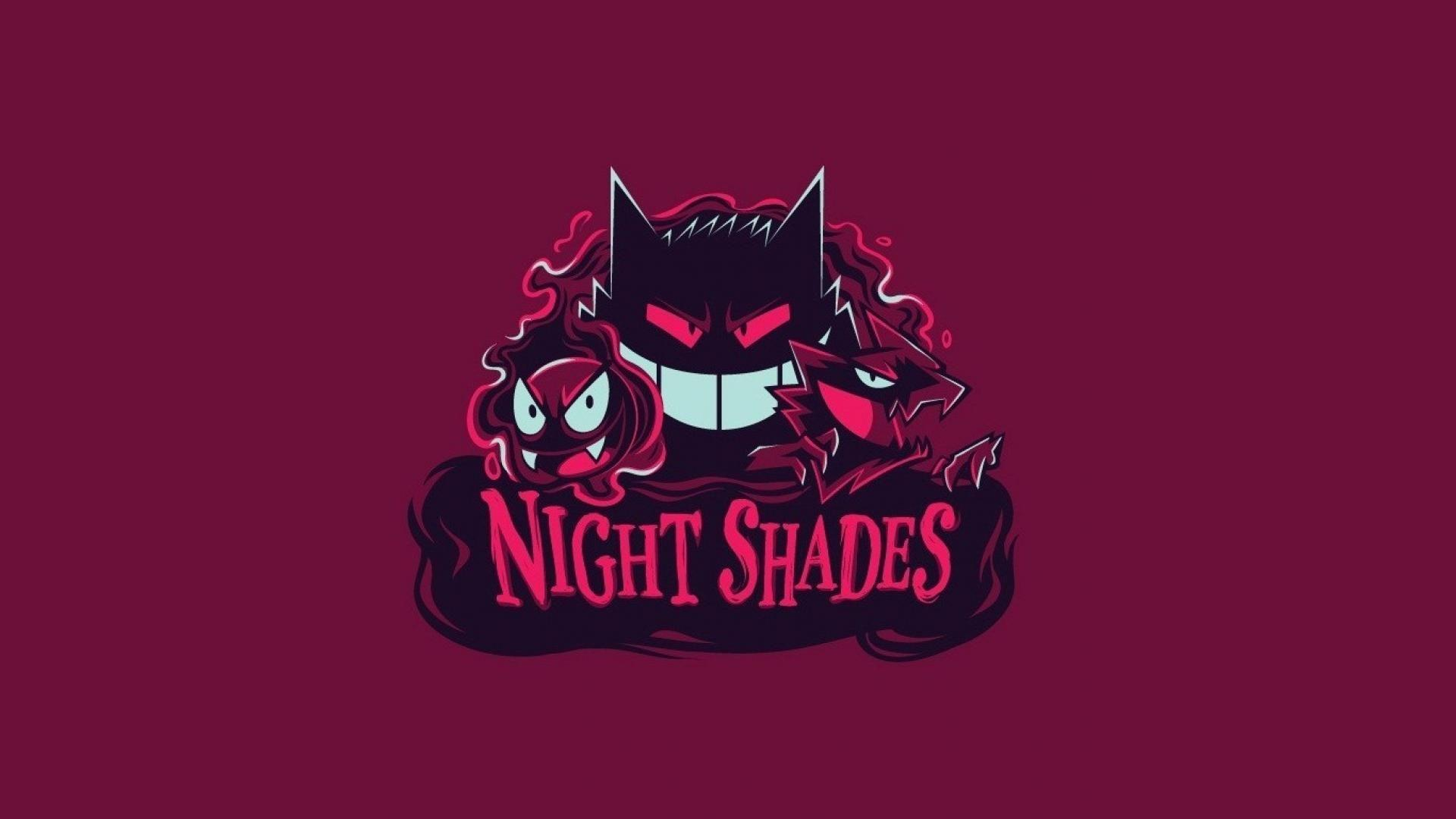 Pokemon minimalistic night gengar haunter gastly shades wallpaper ...