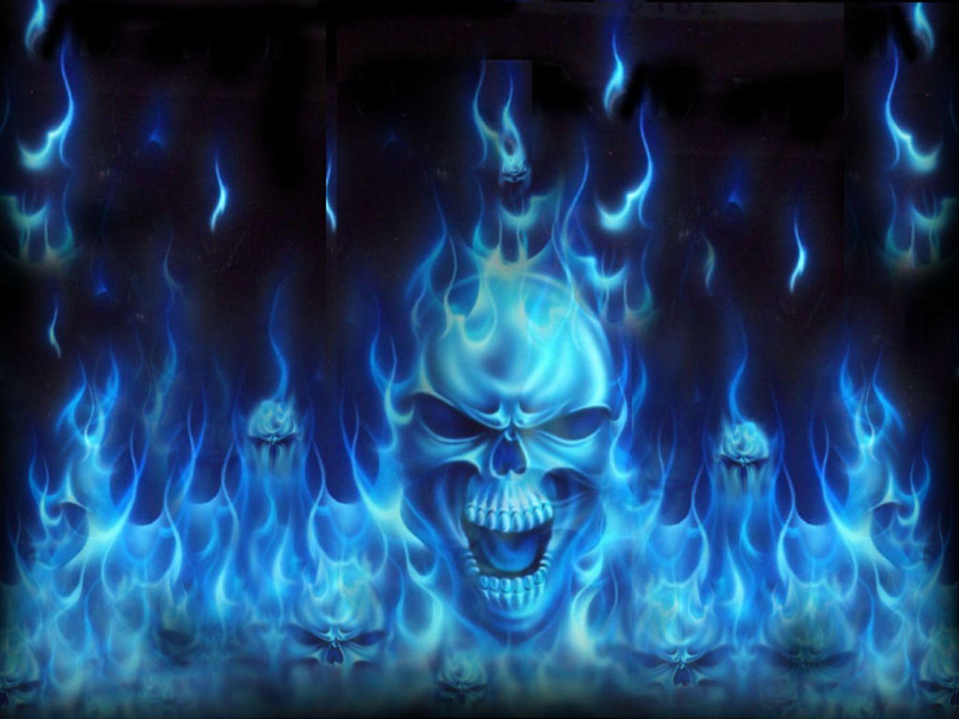 Blue Fire Skull Wallpaper