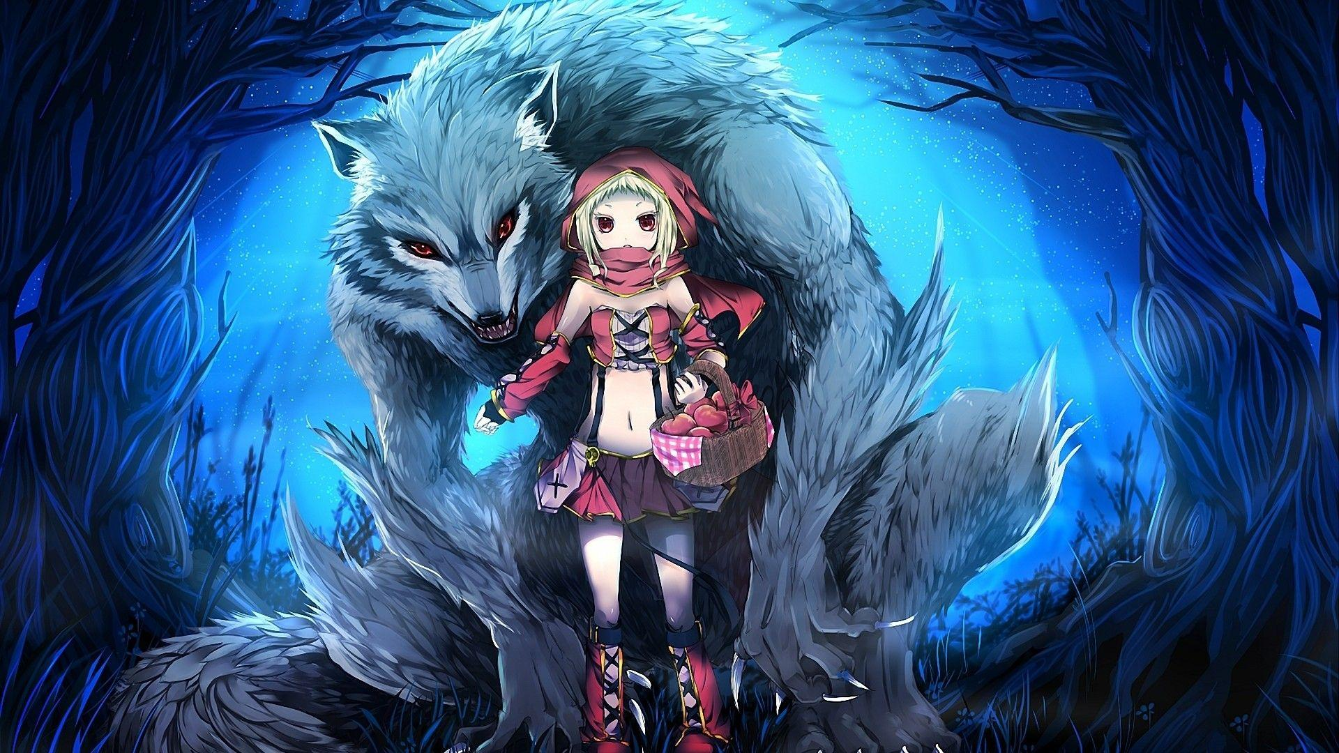 Wolf, Red Eyes, Werewolf, Anime, Anime Girls, Red Riding Hood .