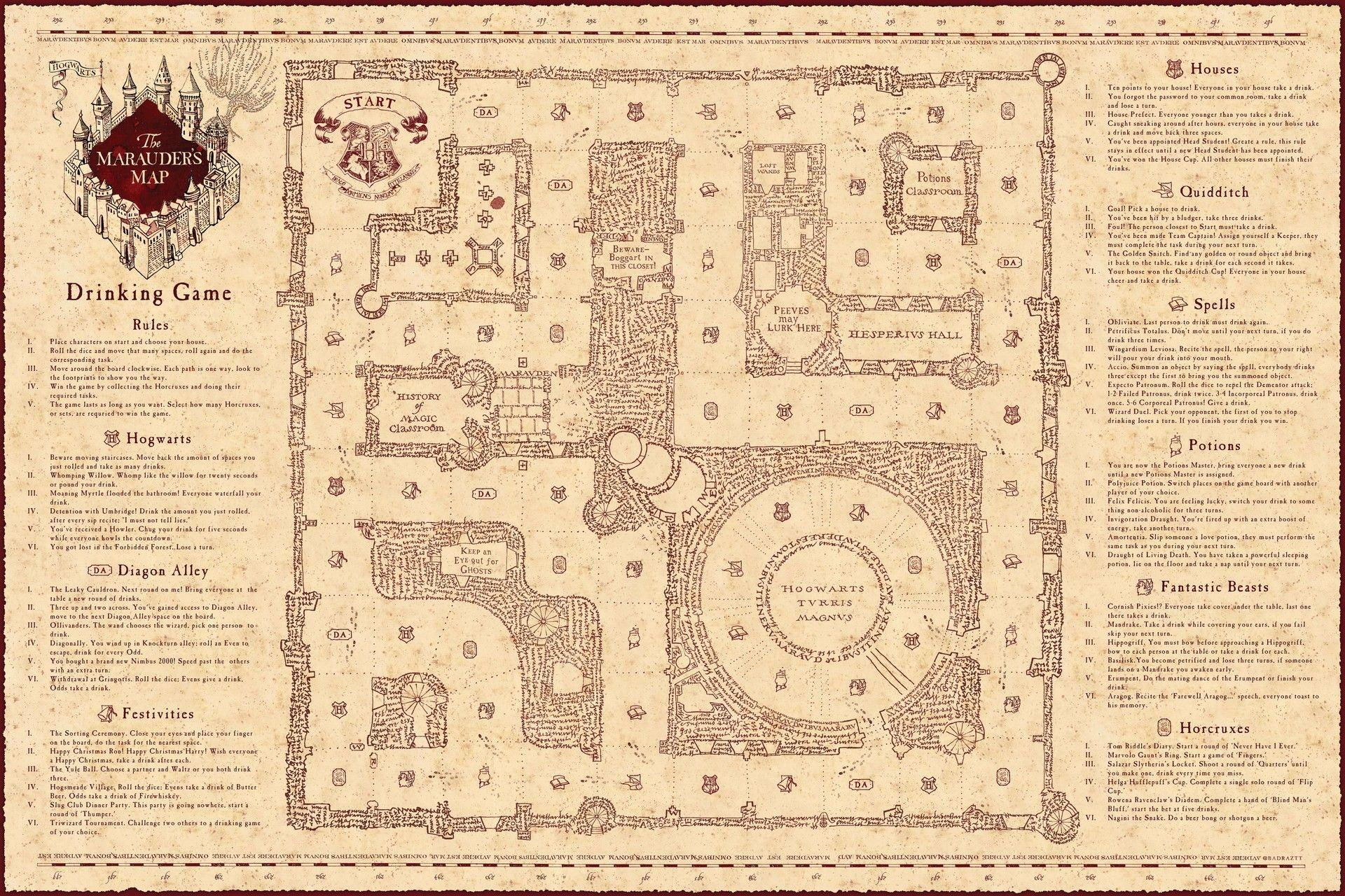 Eloquent image with printable marauders map