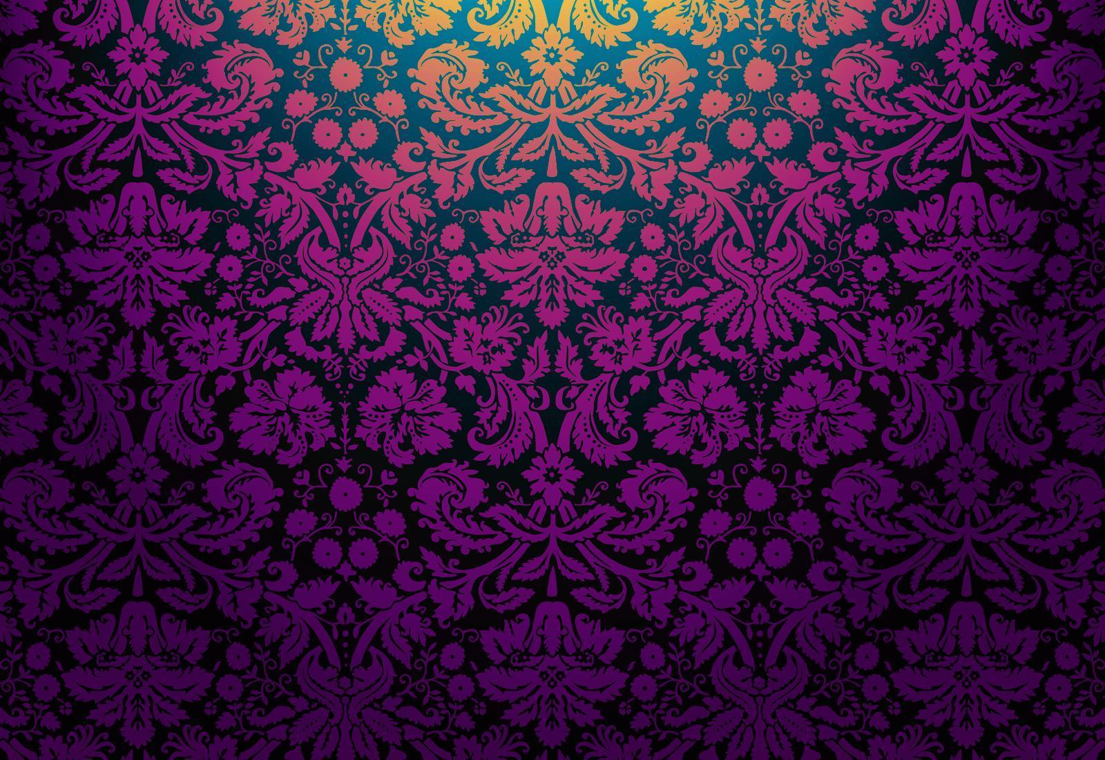 49 Purple Damask Wallpaper