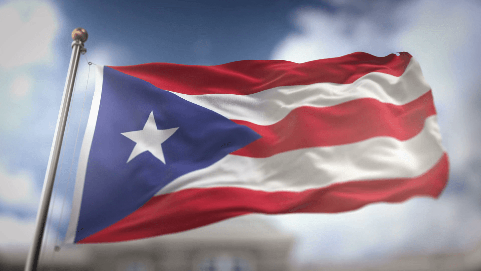 Puerto Rico Flag Waving Slow Motion 3D Rendering Blue Sky Backgrounds