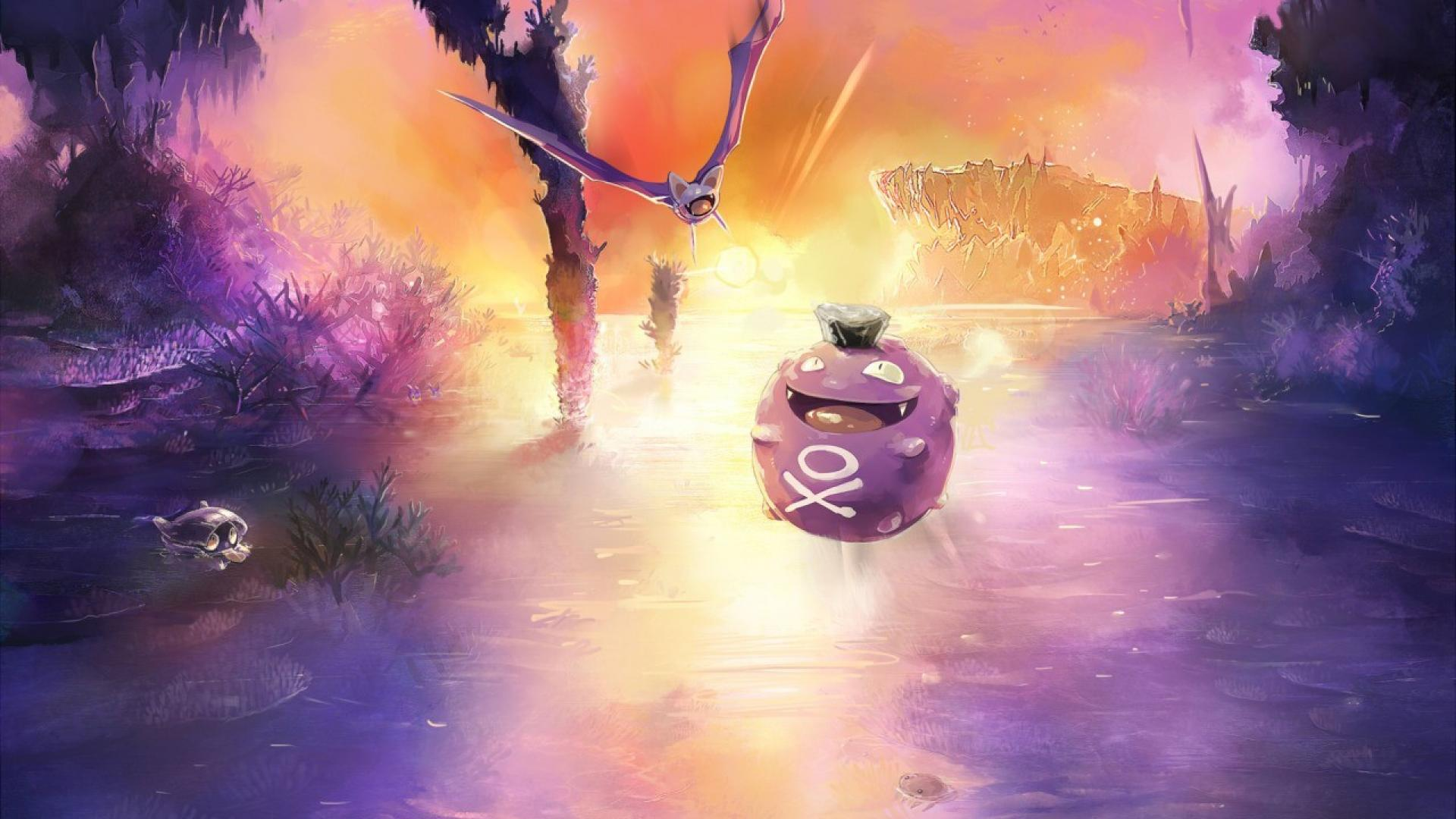 Pokemon landscapes koffing zubat wallpapers