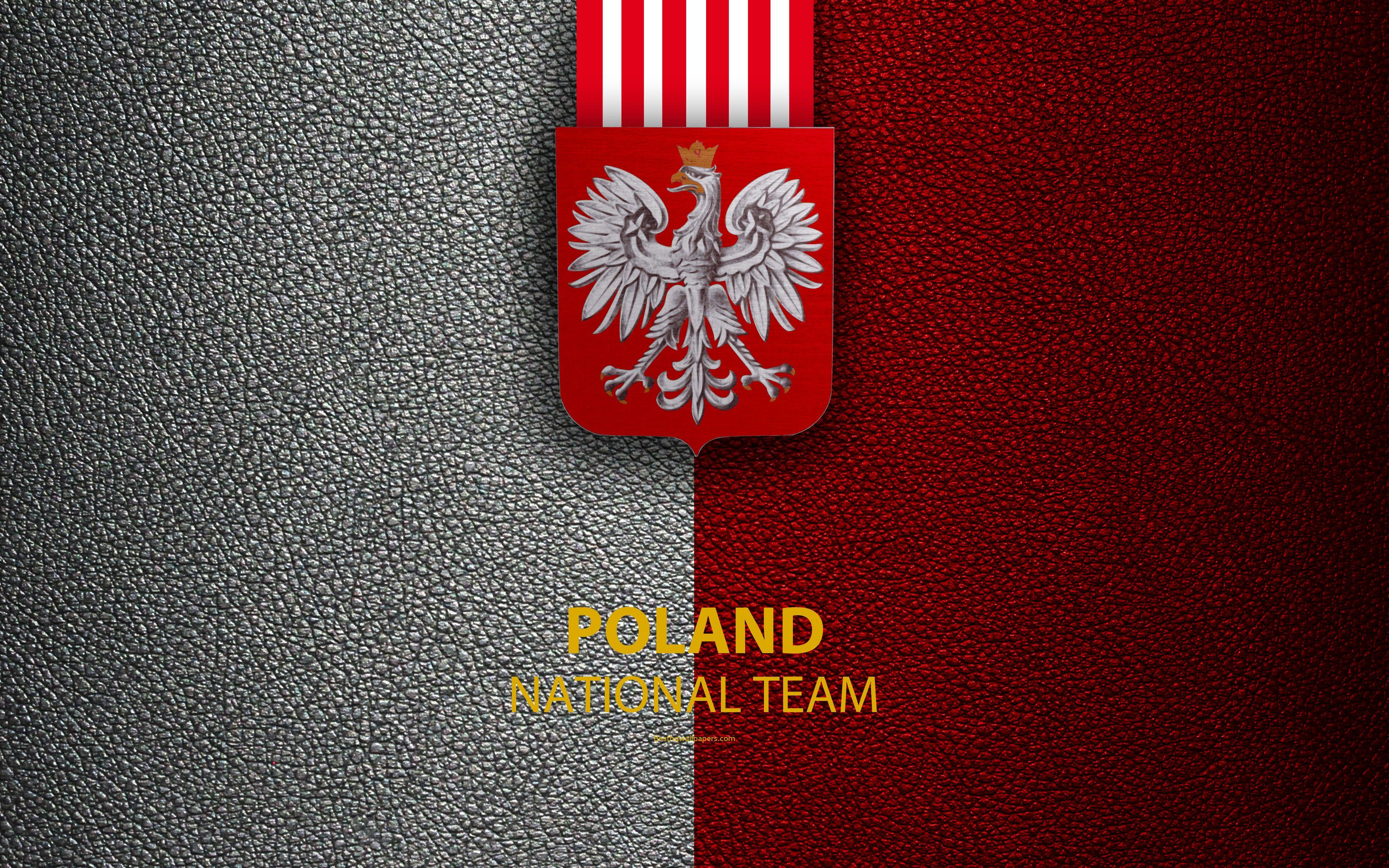 Download wallpapers Poland national football team, 4k, leather