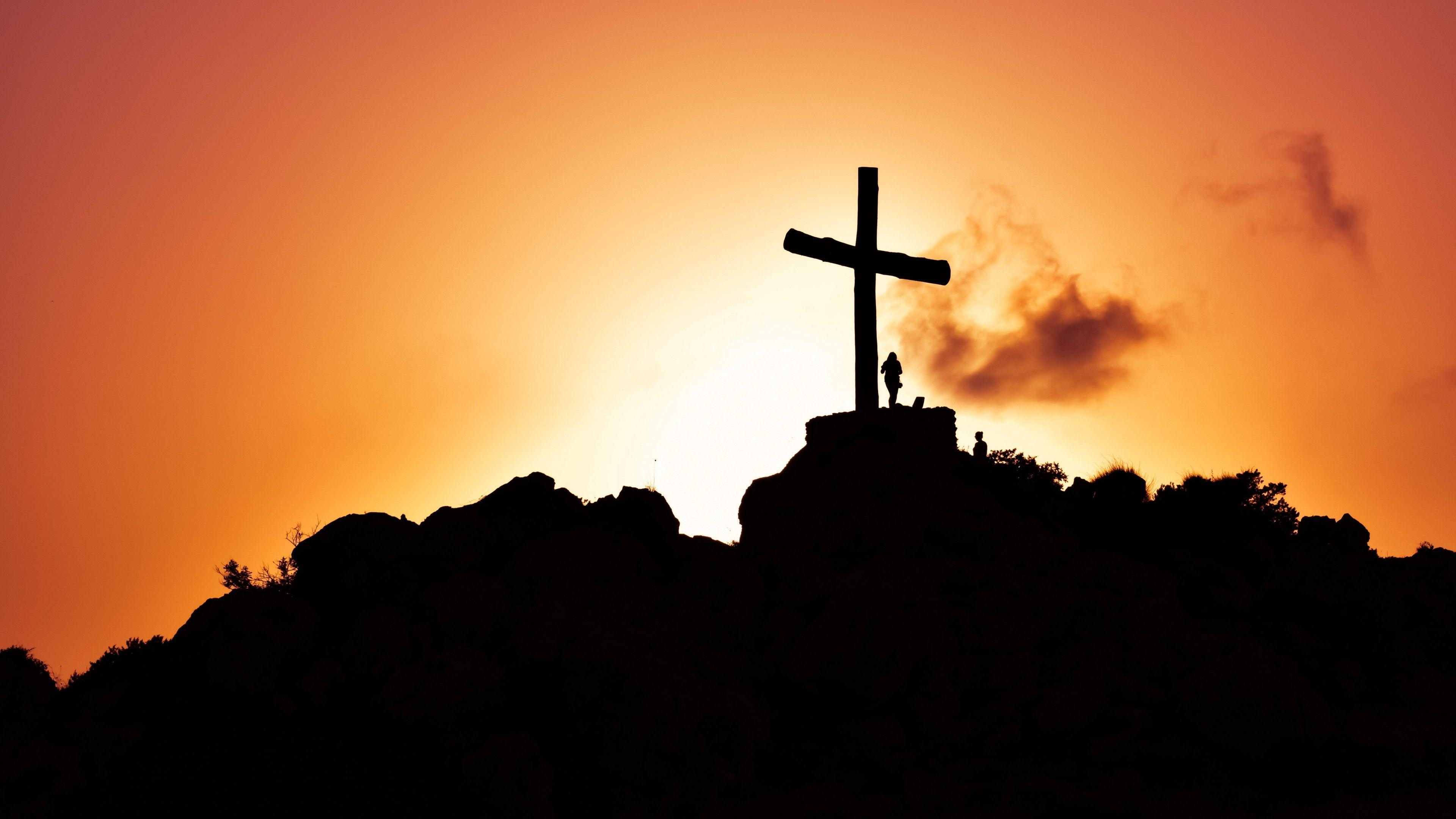 Wallpapers Cross, Sunset, Silhouette, Hill, Christianity, Jesus