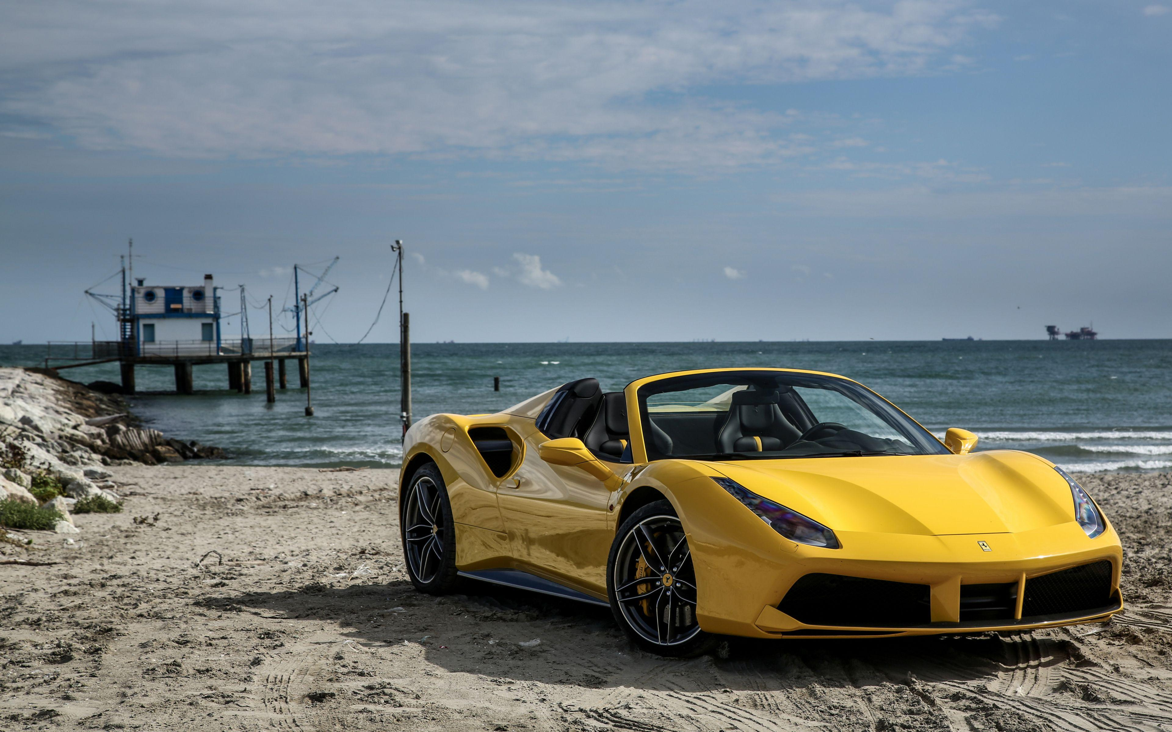Download Wallpapers 3840x2400 Ferrari, 488, Spider, Yellow, Side