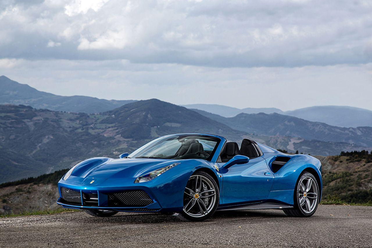 Wallpapers 2015 Ferrari 488 Spider Convertible Blue Cars Metallic