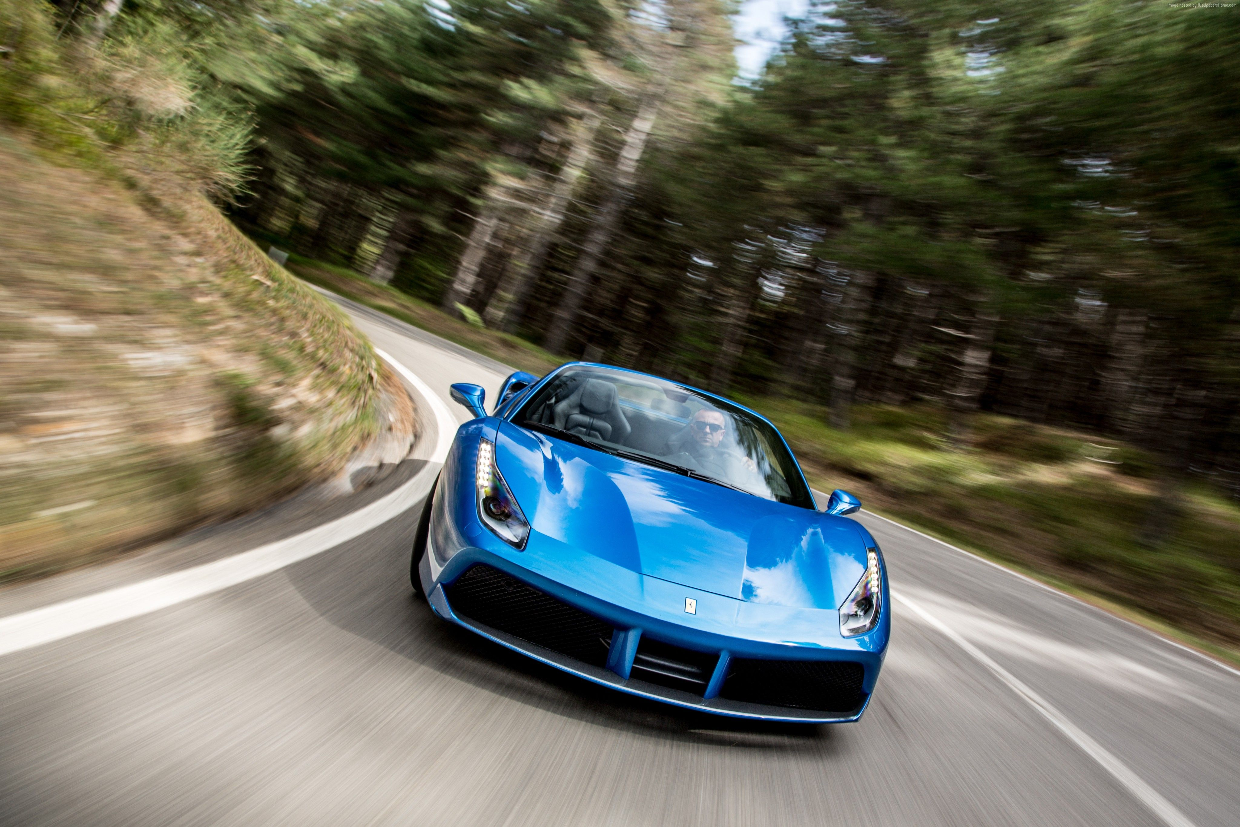 Wallpapers Ferrari 488 Spider, cabriolet, roadster, blue, Cars