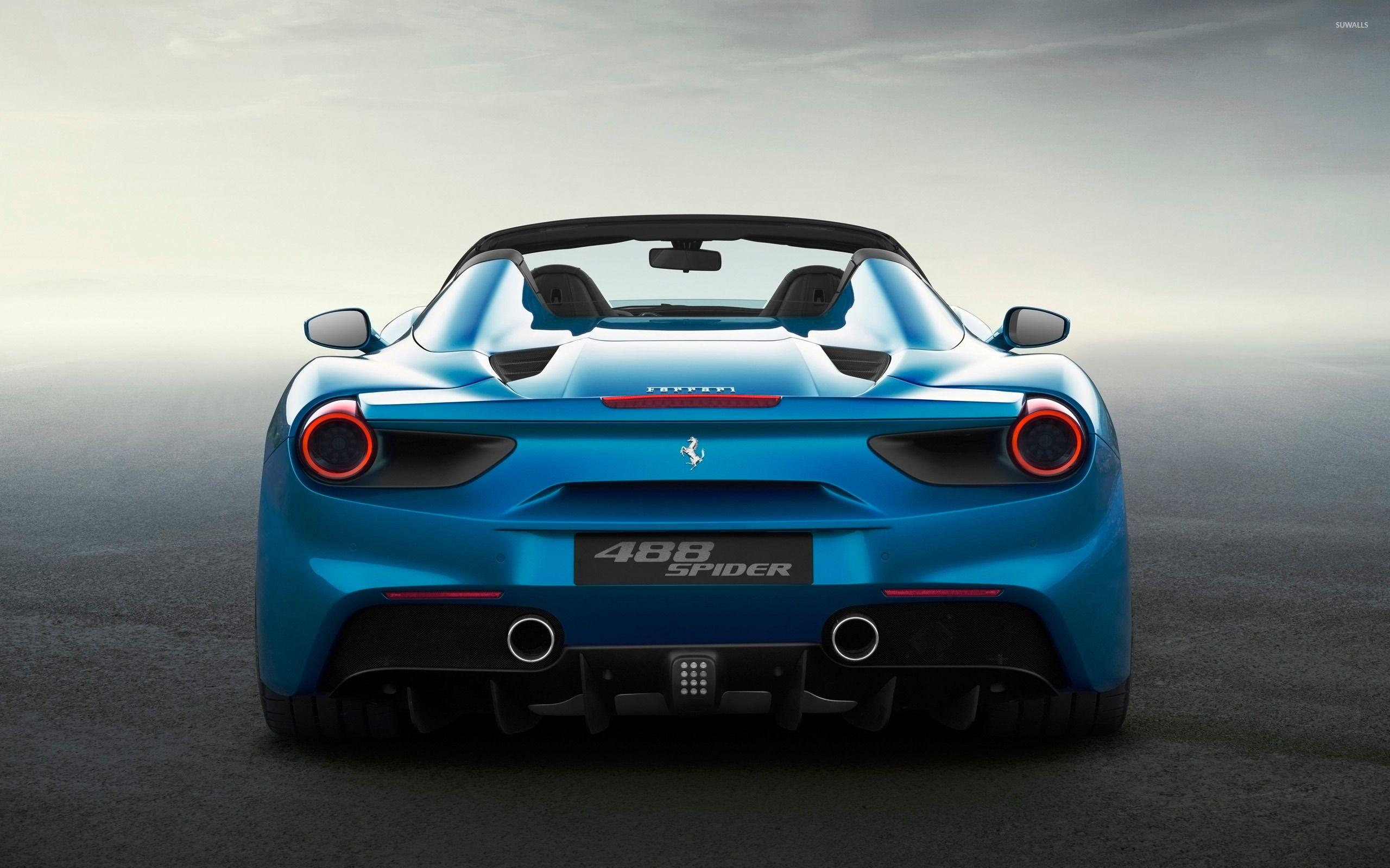 Blue Ferrari 488 Spider back view wallpapers