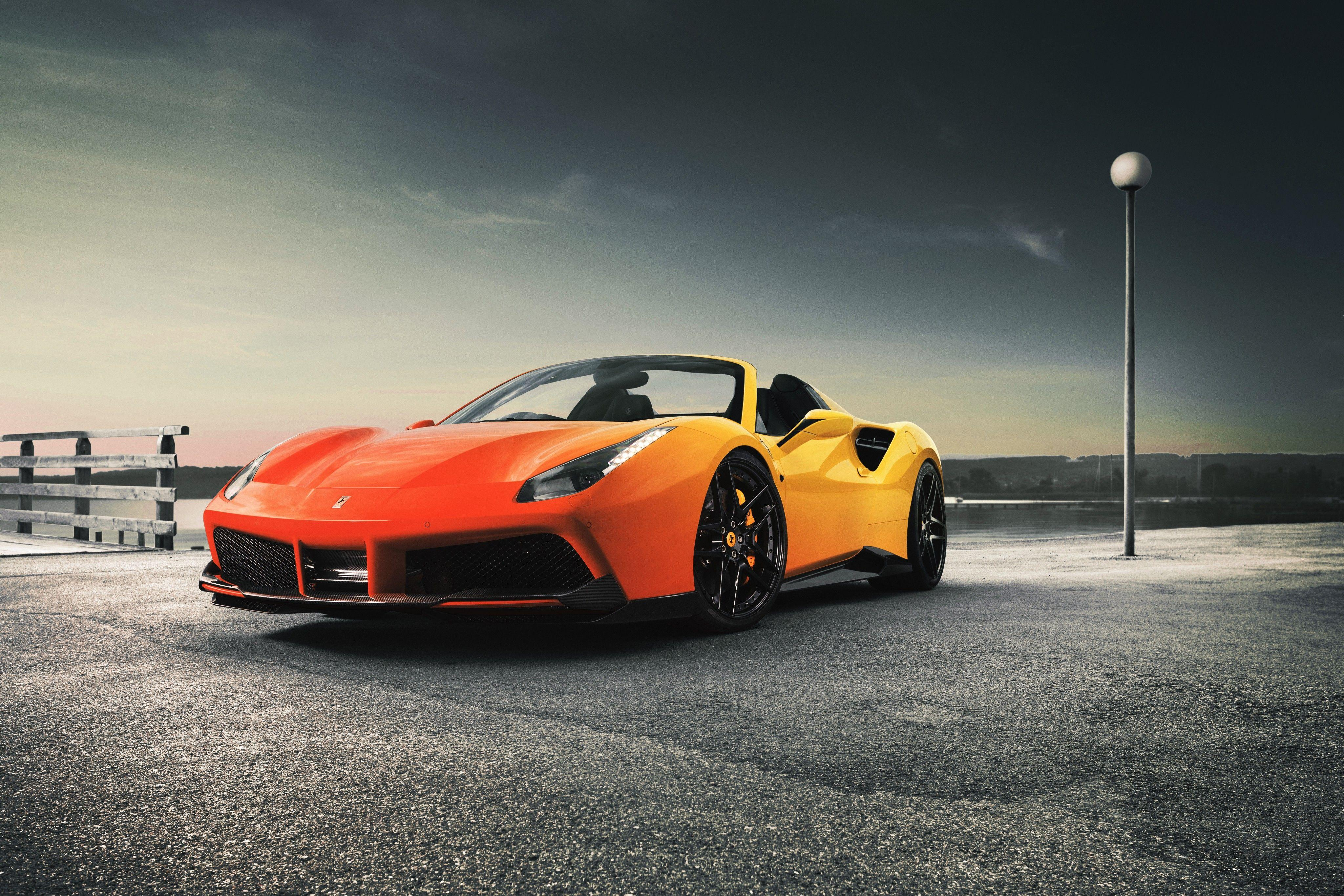 Orange sports car Ferrari 488 Spider wallpapers and image