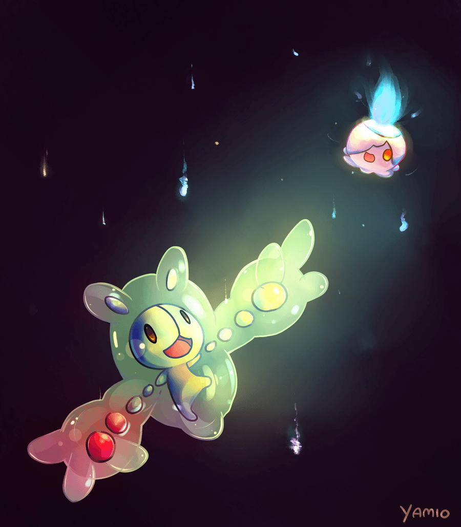 Reuniclus and Litwick by Yamio