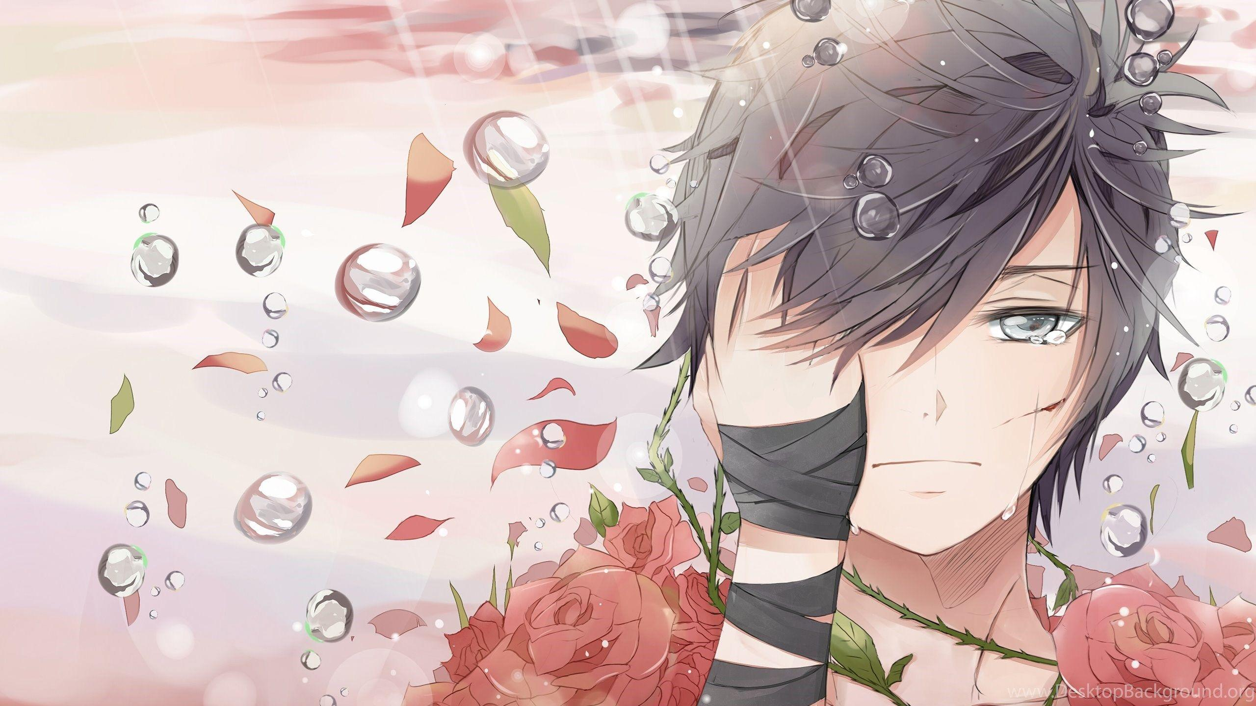 Sad Boy Covered In Roses Wallpapers Anime Wallpapers Desktop