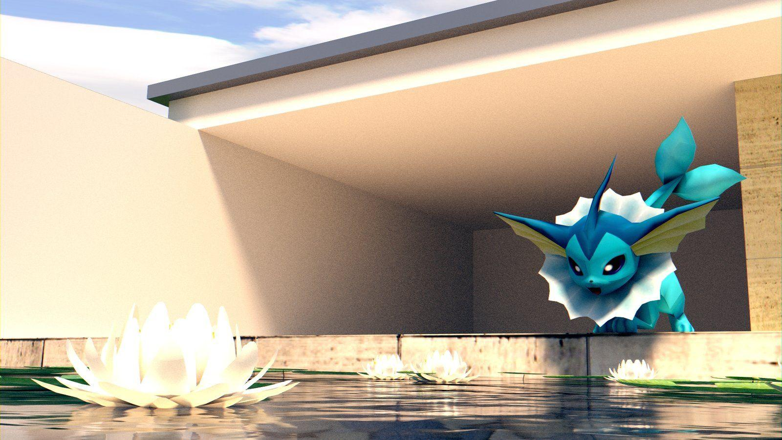 Vaporeon - We have a pool! [WALLPAPER] [3D MODEL] by TheModerator ...