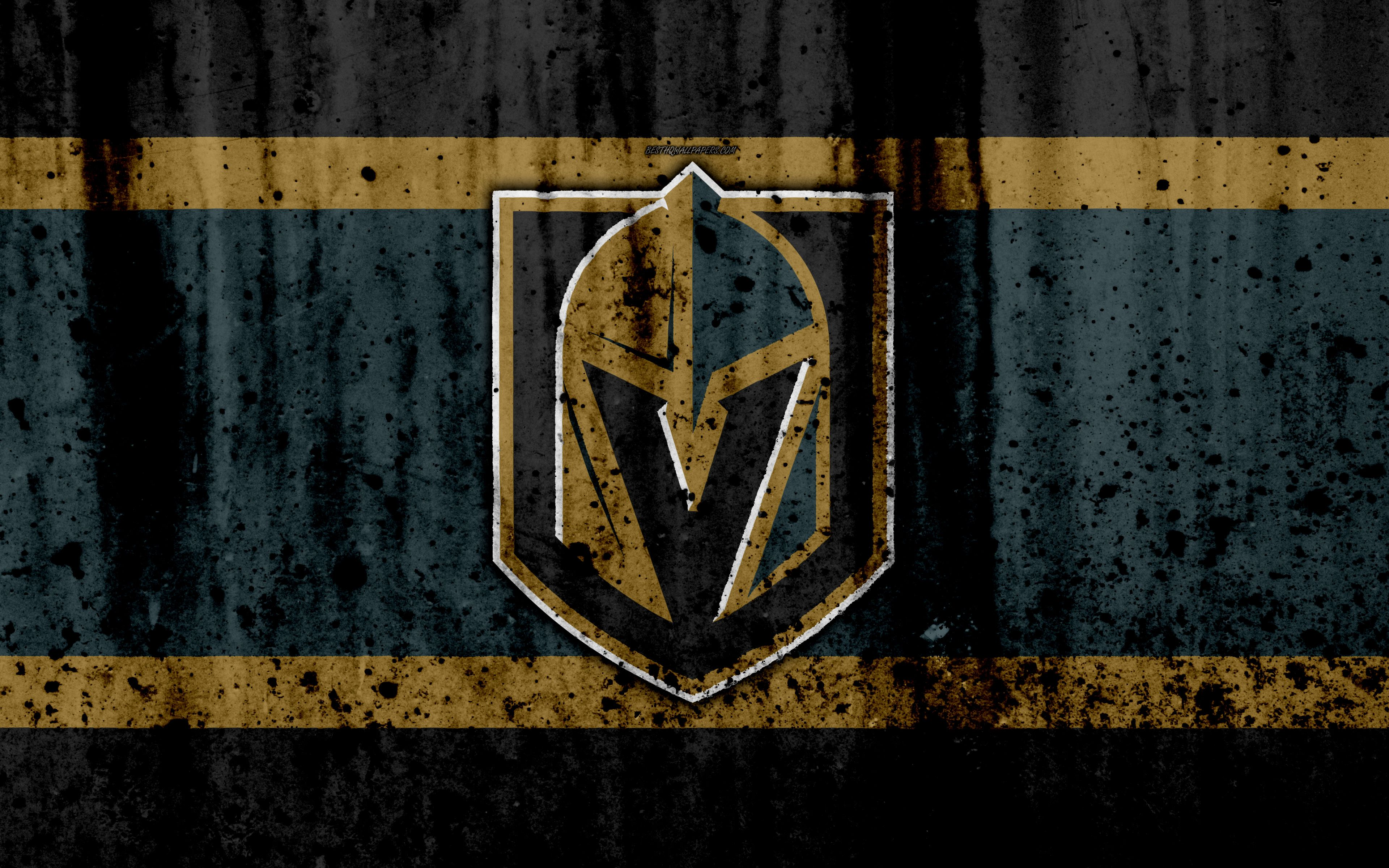e4932e79993 Download wallpapers 4k, Vegas Golden Knights, grunge, NHL, hockey .