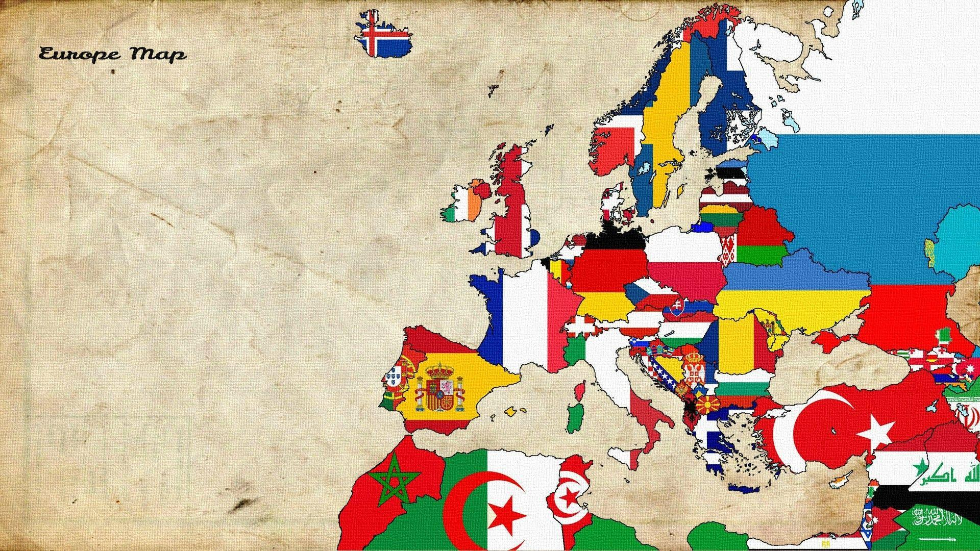 Wallpapers : illustration, collage, cartoon, flag, Europe, world