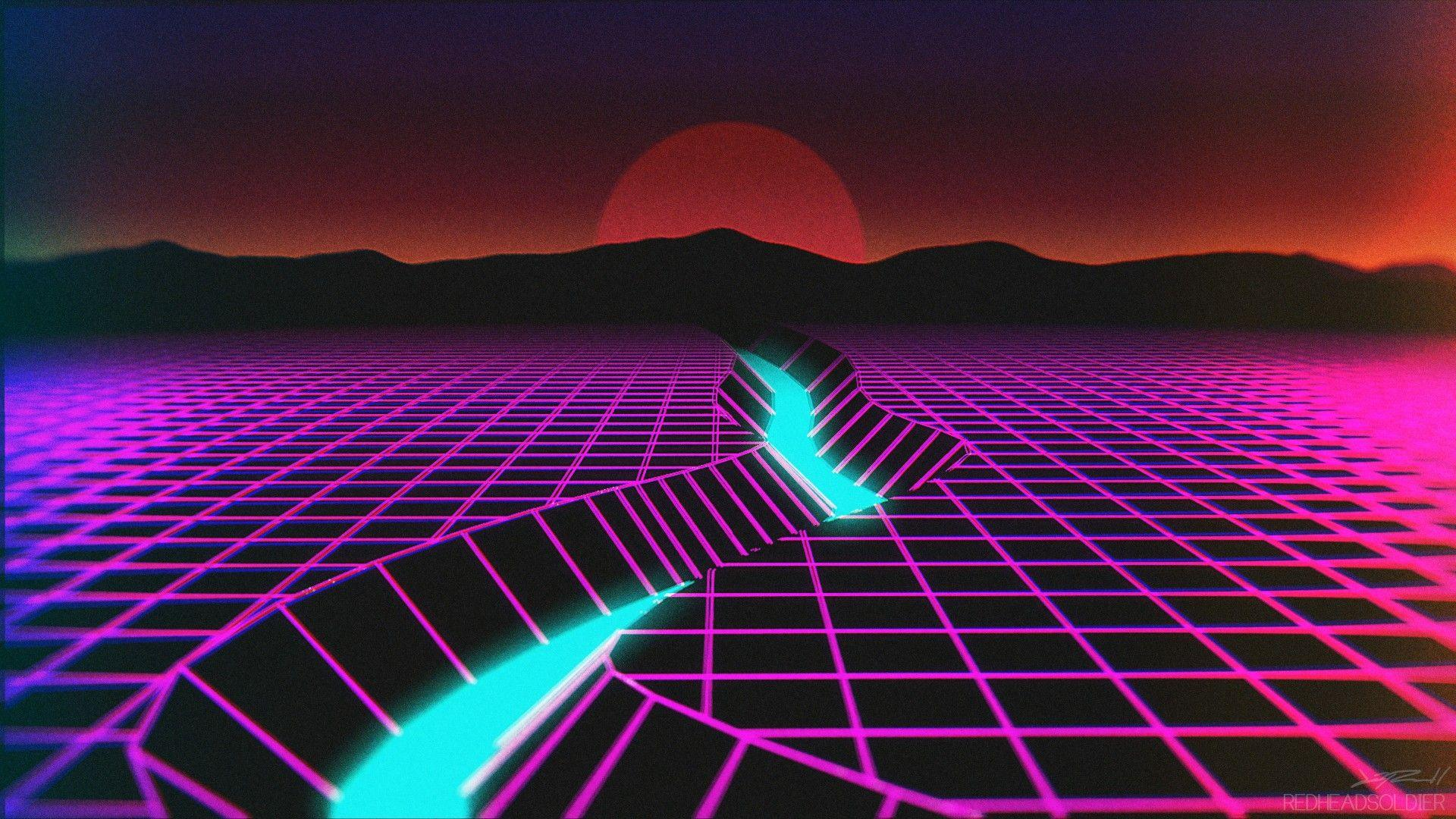 Wallpapers : neon, reflection, horizon, atmosphere, New Retro Wave