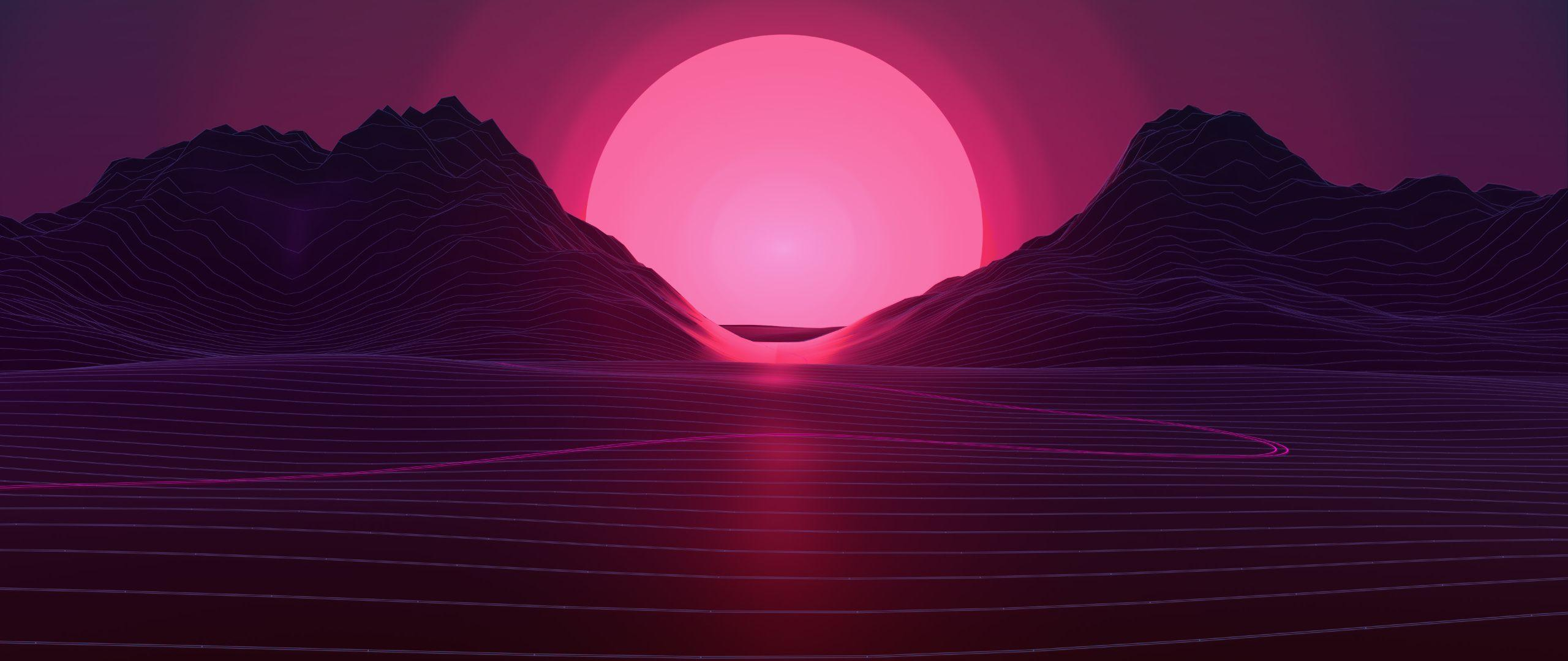 Download Sun In Retro Wave Mountains 1440x900 Resolution, HD 4K
