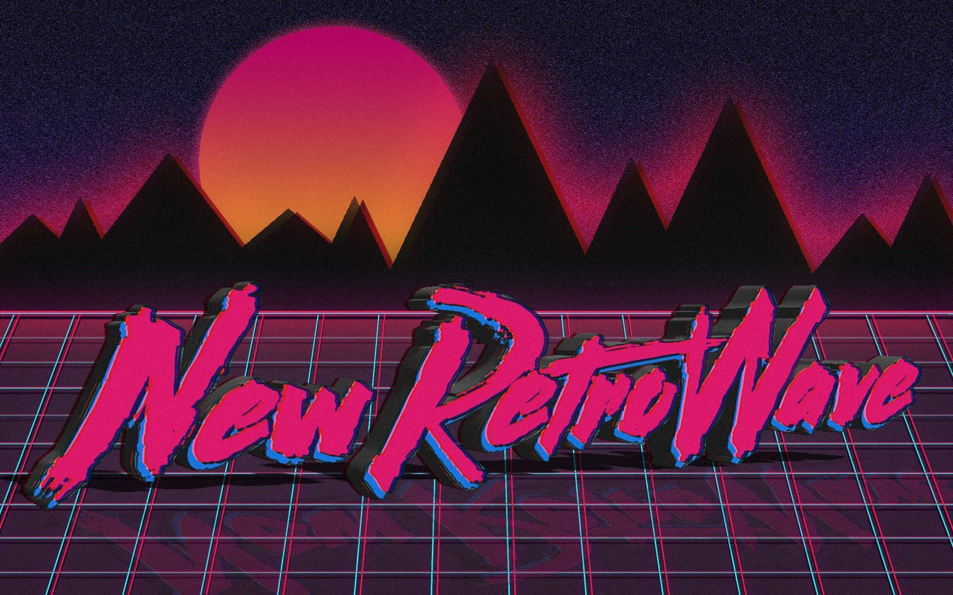 new retro wave neon 1980s synthwave vintage typography digital art