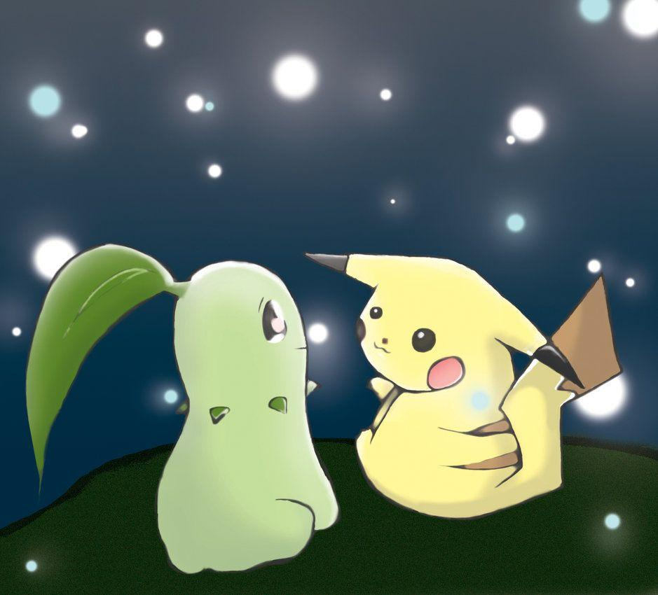 Pikachu and Chikorita Sparkles by Ah-Da on DeviantArt