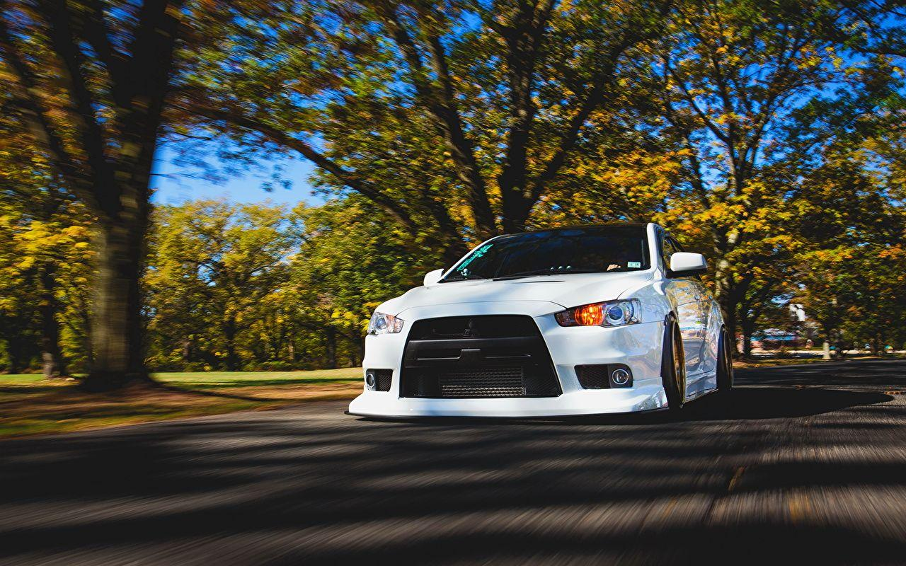 Wallpapers Mitsubishi lancer evo x White Motion auto Front