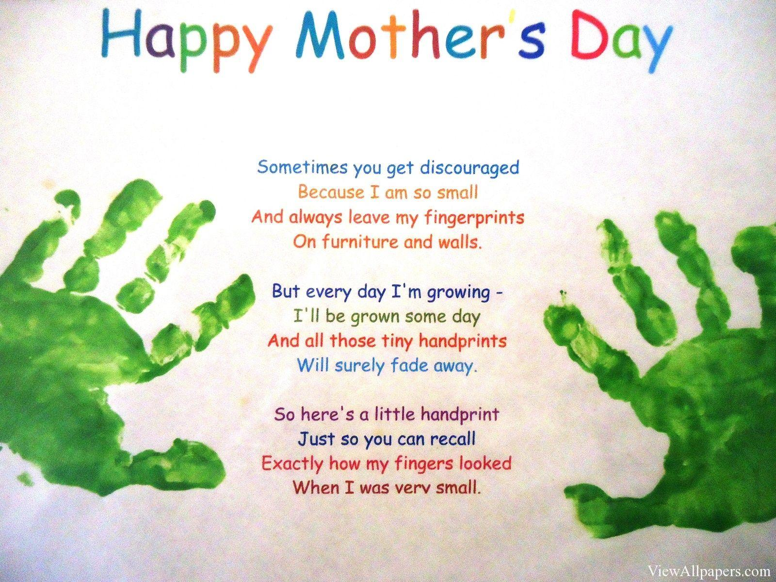 Mothers Day Handprint Poem High Resolution Wallpaper, Free ...