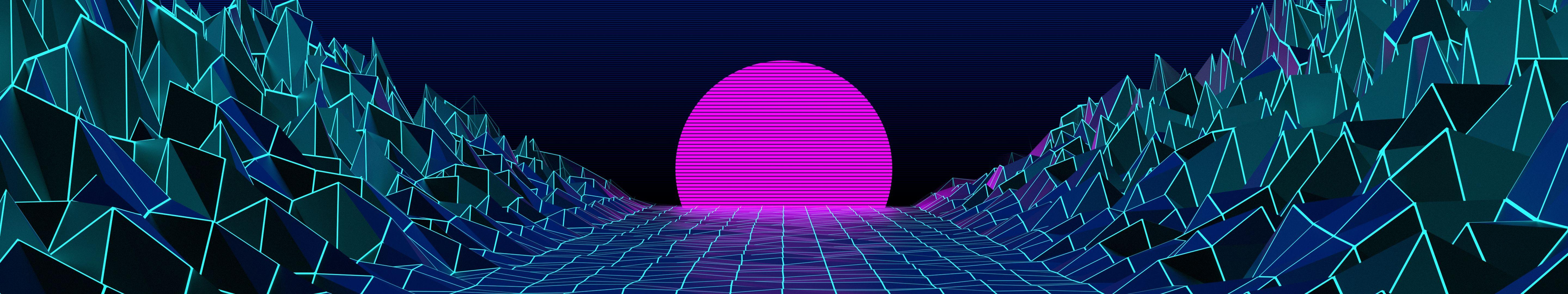 5760x1080] Vaporwave Wallpapers : multiwall