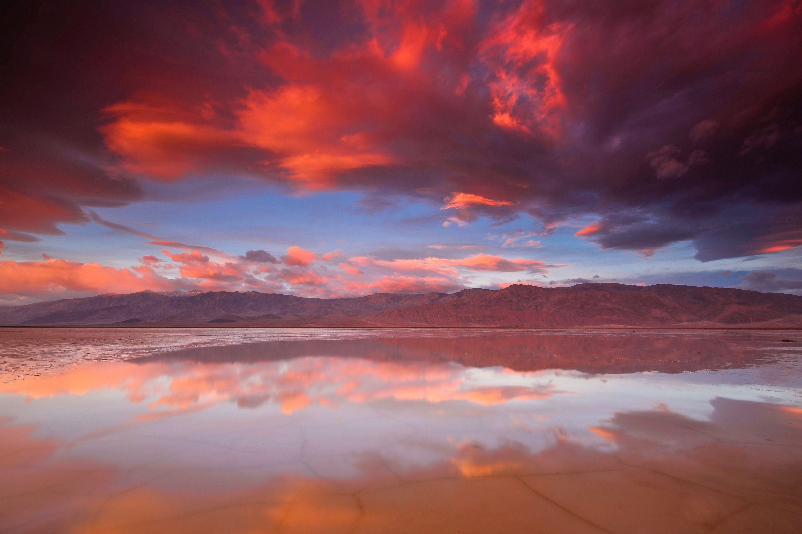 Wallpapers Death Valley National Park, Sunrise, Clouds, Nature,