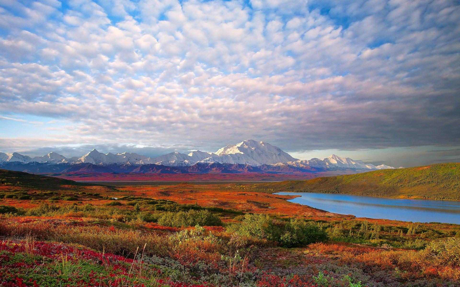 Mountains clouds landscapes Denali National Park wallpapers